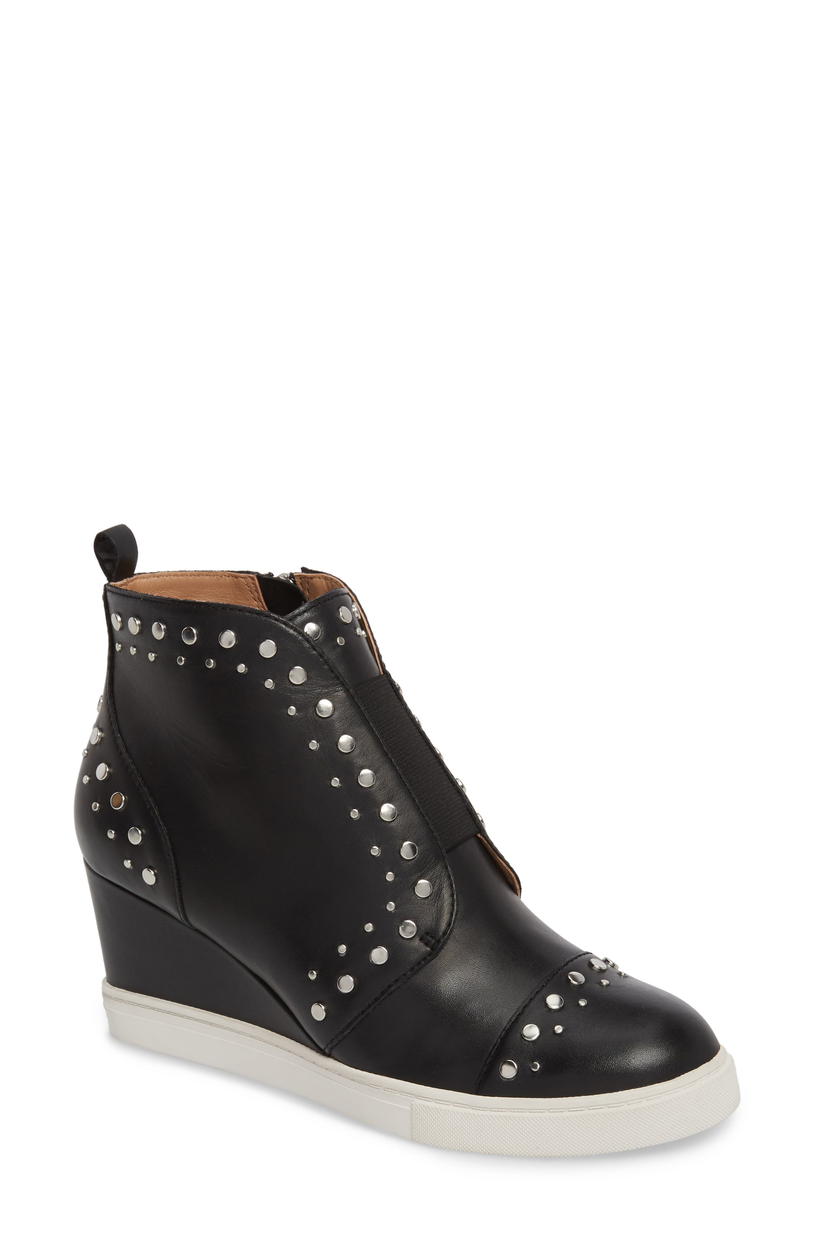 LINEA PAOLO, Felicity Wedge Sneaker, Main thumbnail 1, color, BLACK LEATHER