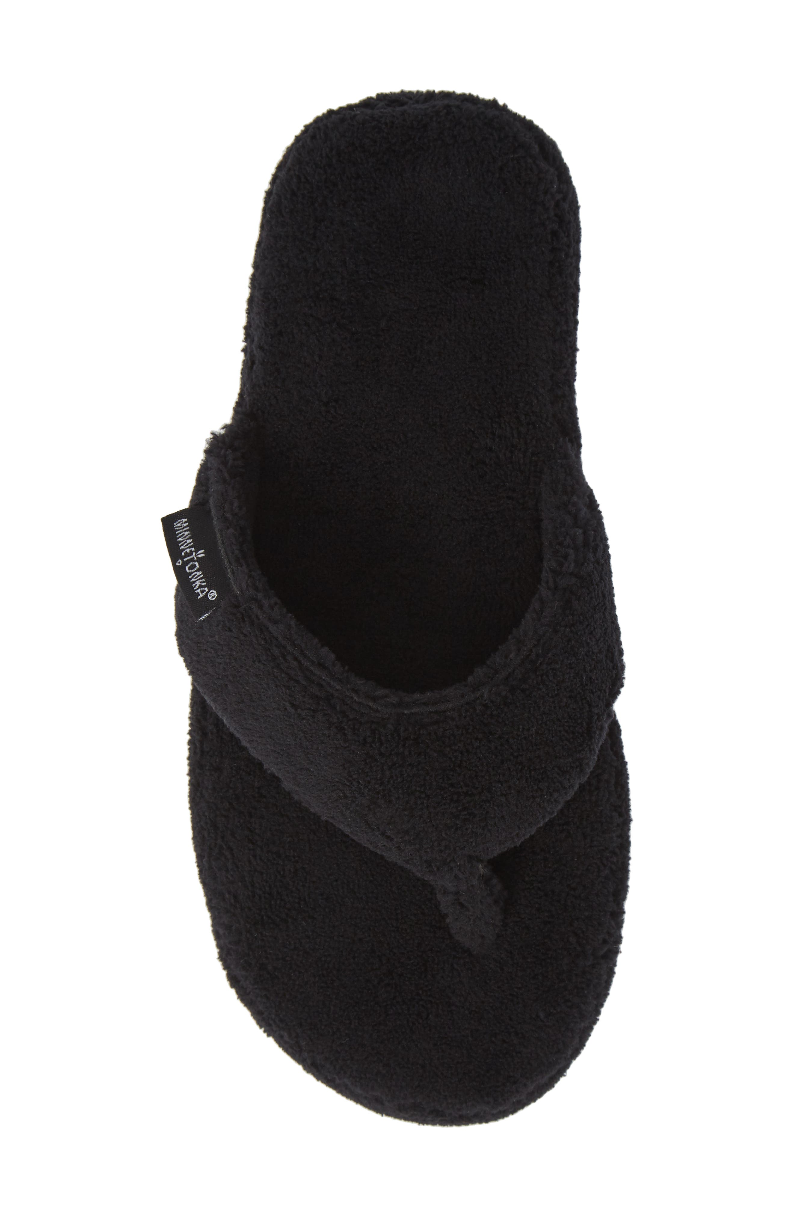 MINNETONKA, Olivia Spa Flip Flop, Alternate thumbnail 5, color, BLACK FABRIC