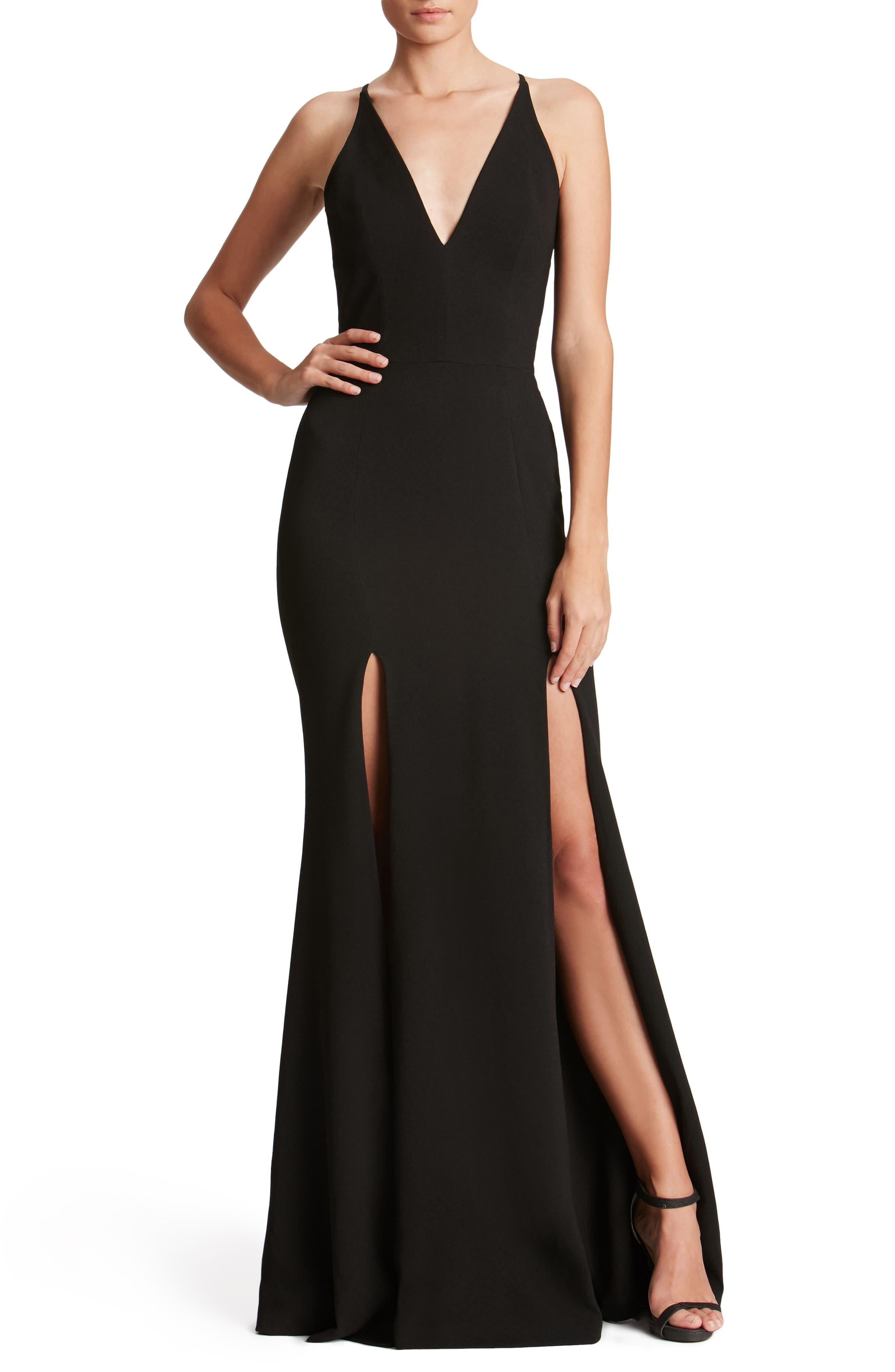 DRESS THE POPULATION, Iris Slit Crepe Gown, Alternate thumbnail 5, color, BLACK