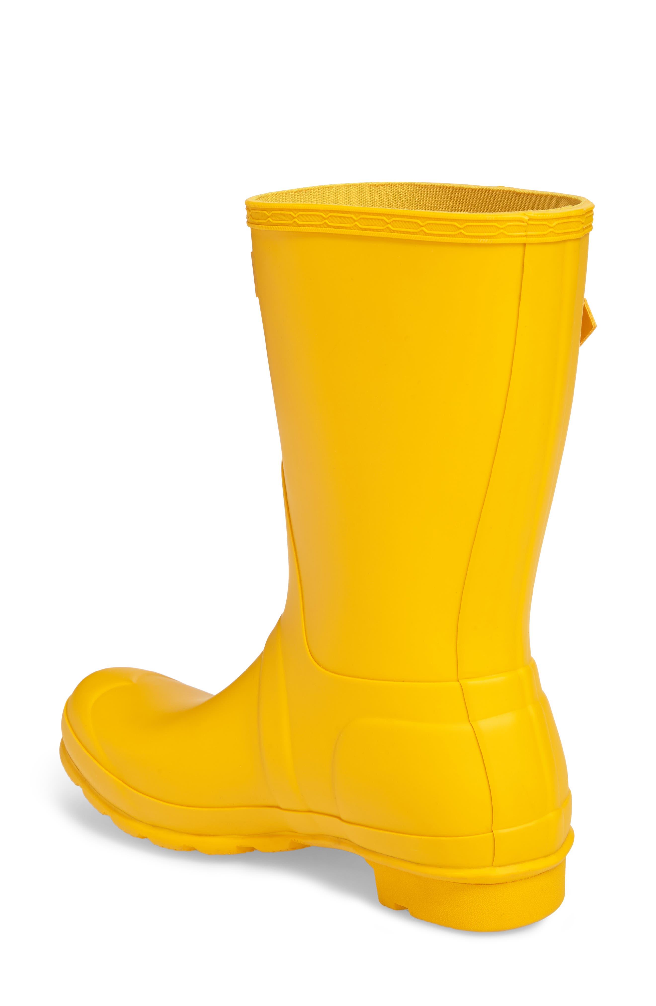 HUNTER, Original Short Waterproof Rain Boot, Alternate thumbnail 2, color, YELLOW/ YELLOW