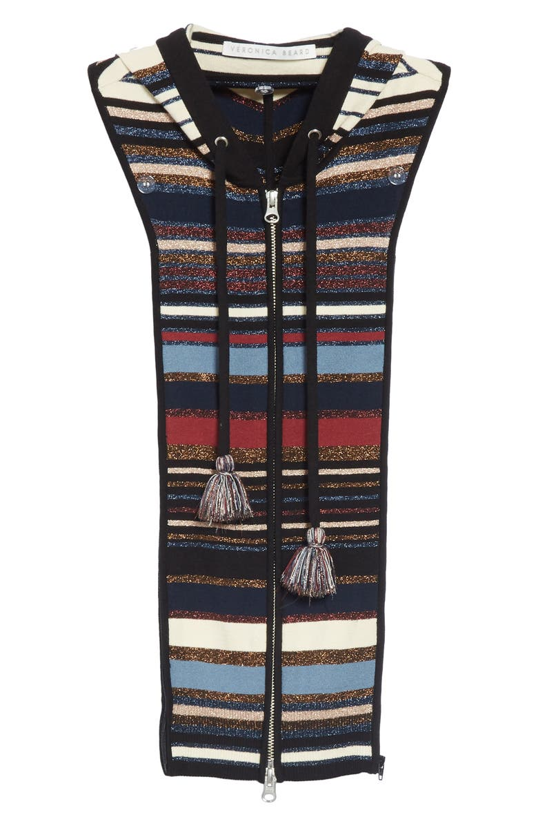 85817304a14 Veronica Beard Lupe Striped Zip-Front Hoodie Dickey In Navy Multi ...