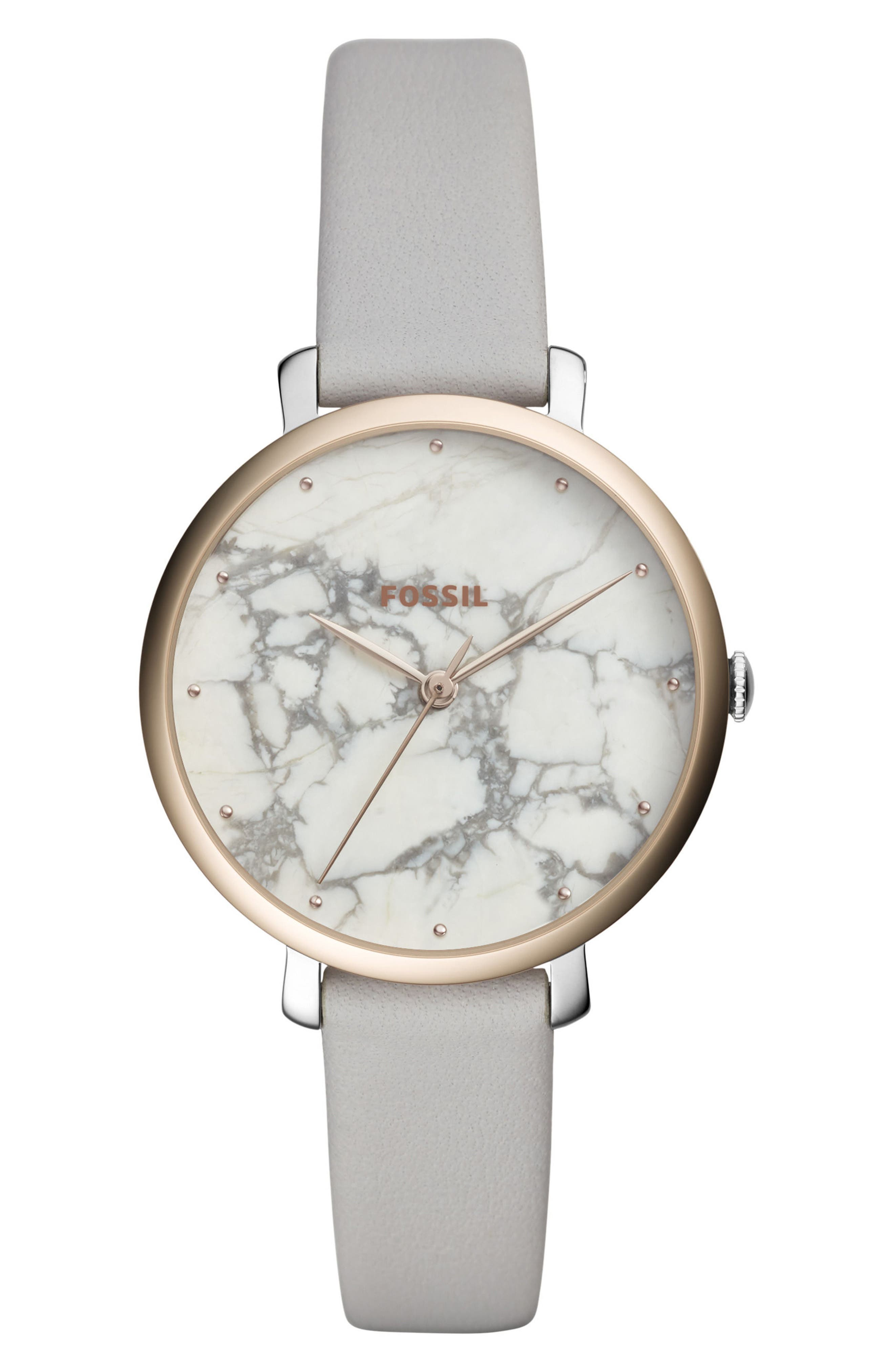 FOSSIL, Jacqueline Stone Dial Leather Strap Watch, 36mm, Main thumbnail 1, color, GRAY/ WHITE/ SILVER