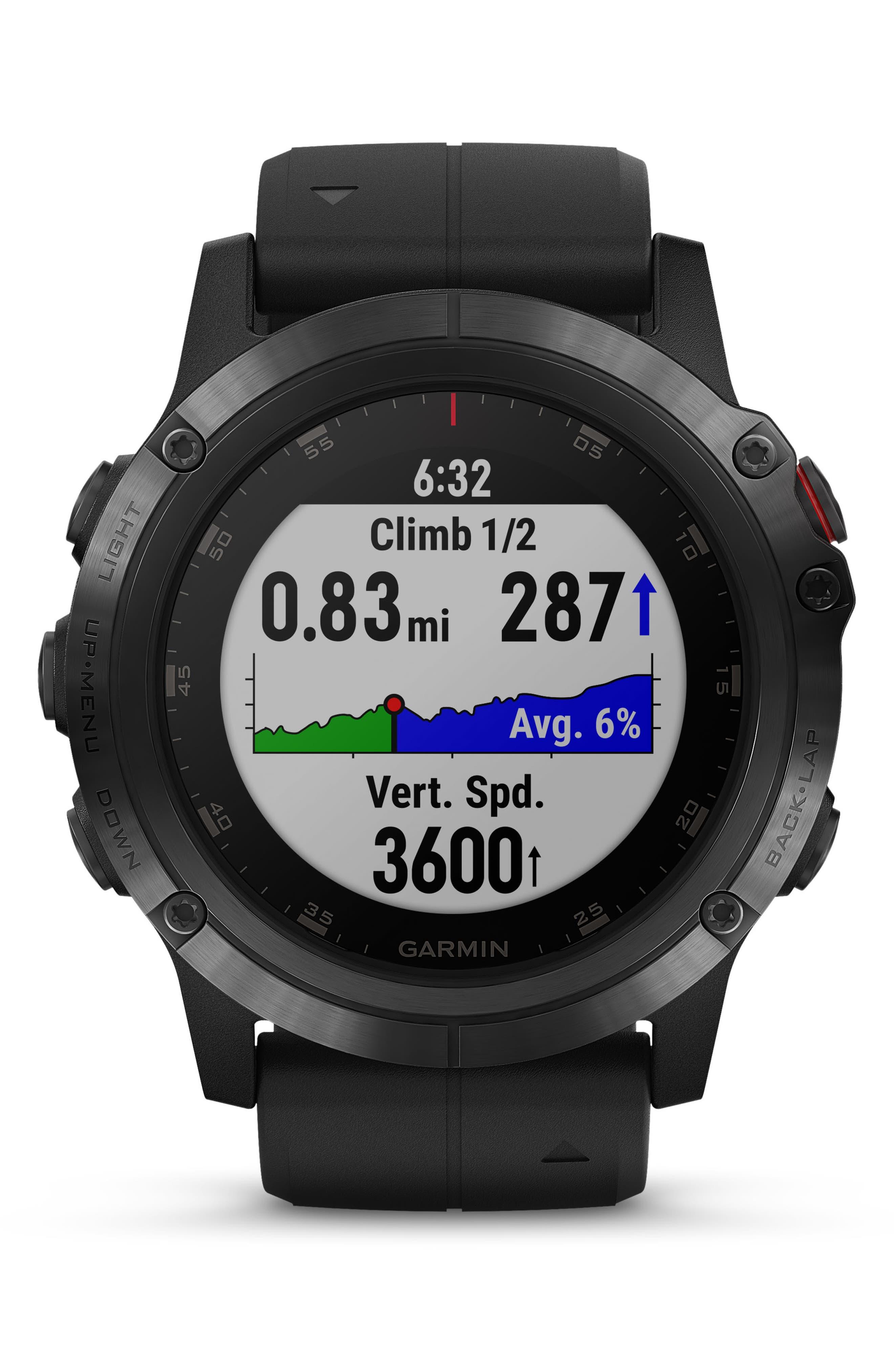 GARMIN, fenix<sup>®</sup> 5S Sapphire Premium Multisport GPS Watch, 51mm, Alternate thumbnail 7, color, BLACK