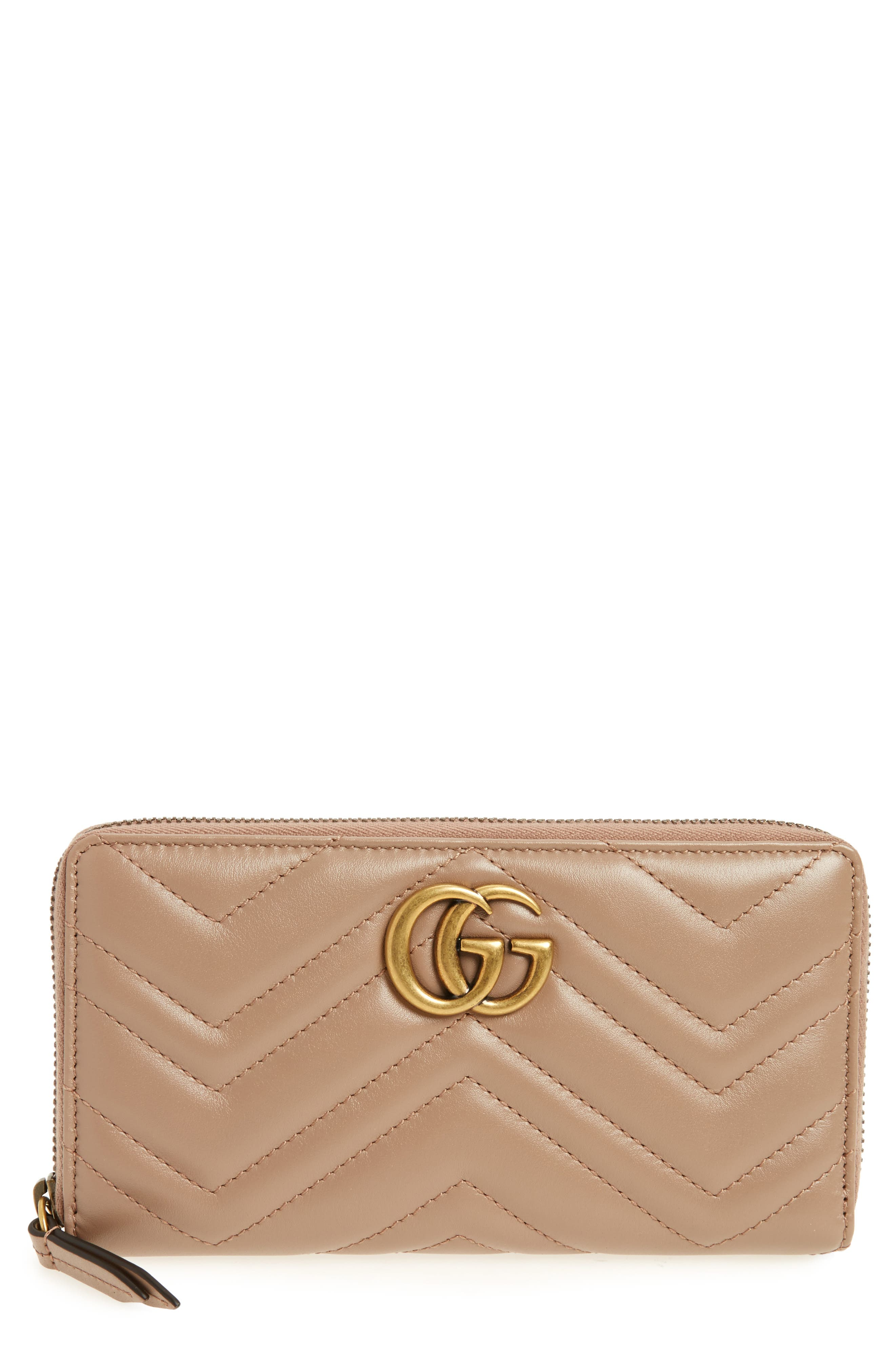 GUCCI, GG Marmont Matelassé Leather Zip-Around Wallet, Main thumbnail 1, color, PORCELAIN ROSE