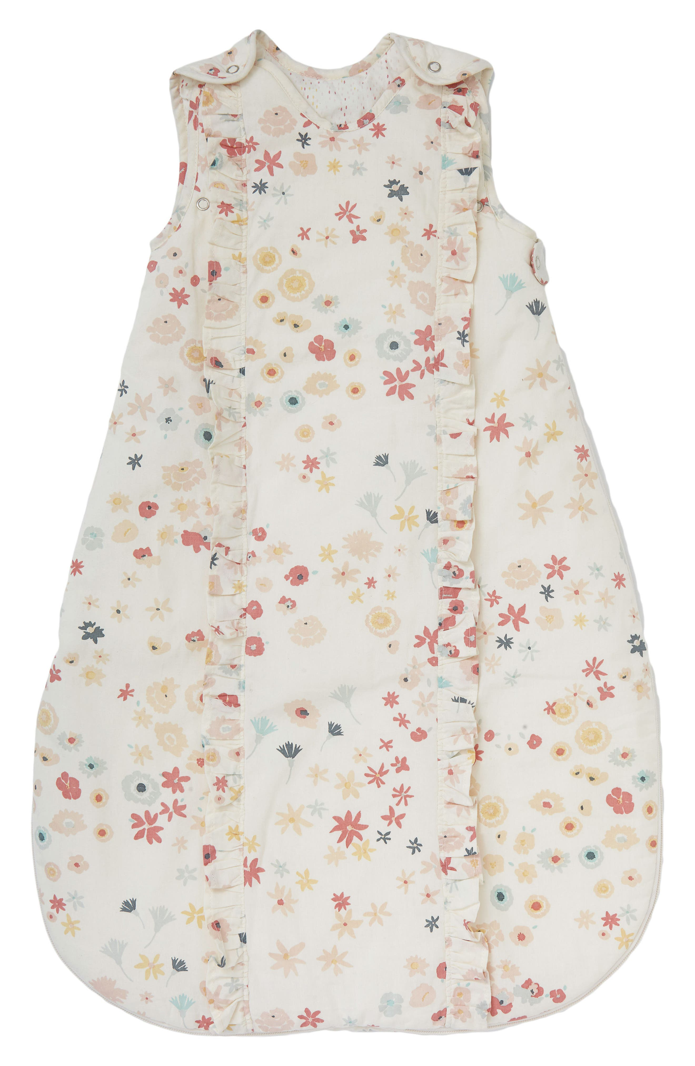 PEHR, Meadow Print Cotton Wearable Blanket, Main thumbnail 1, color, PINK