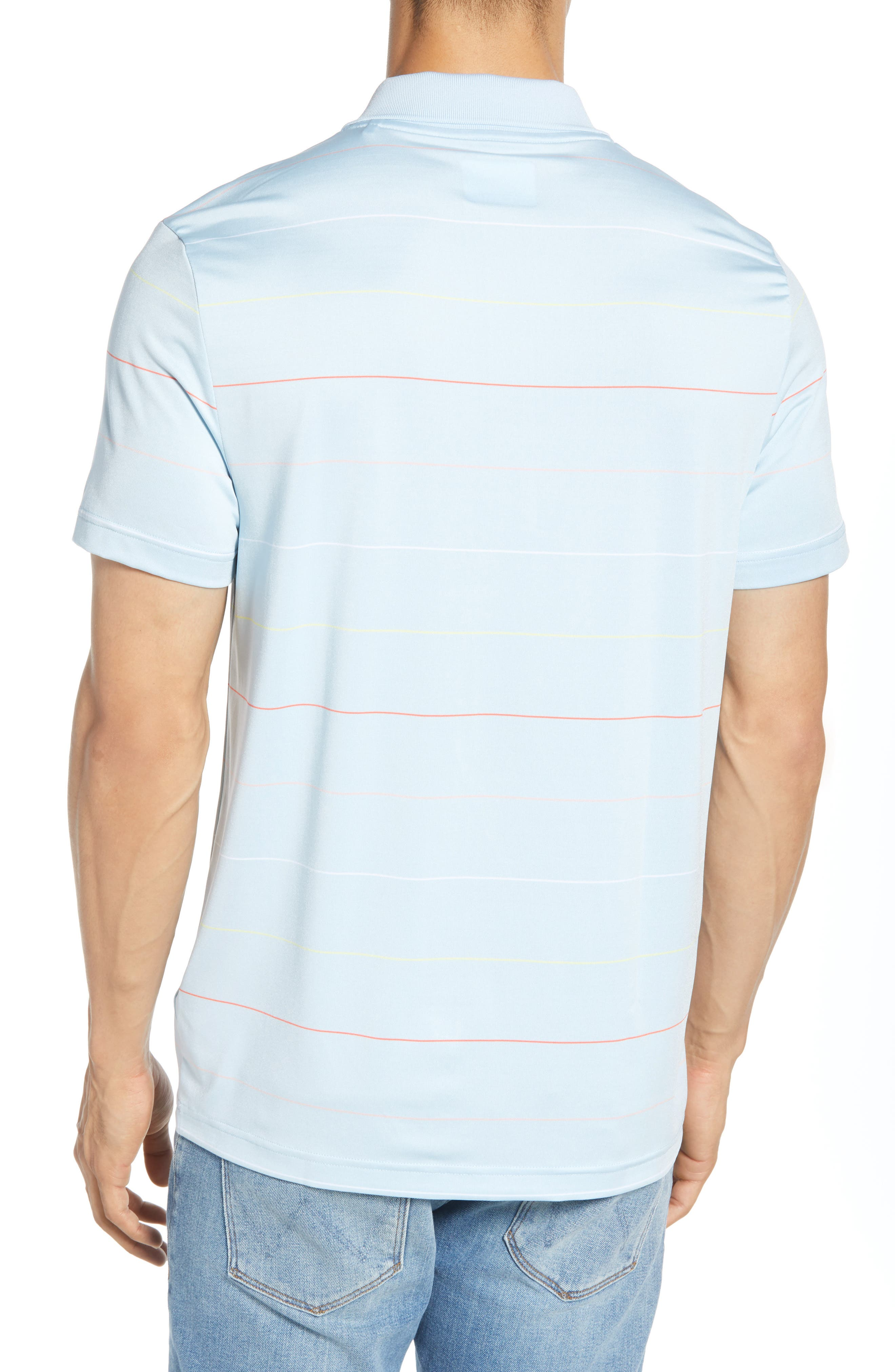 LACOSTE, Ultra Dry Regular Fit Tech Polo, Alternate thumbnail 2, color, DREAM BLUE/ MANGO