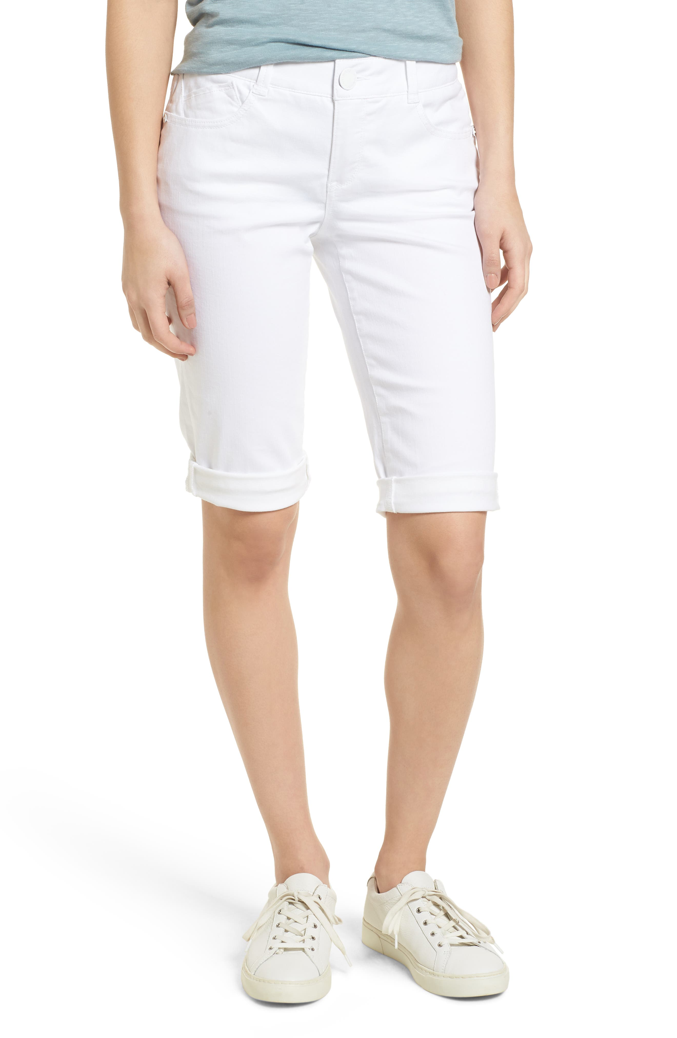 WIT & WISDOM, Ab-solution White Bermuda Shorts, Main thumbnail 1, color, OPTIC WHITE