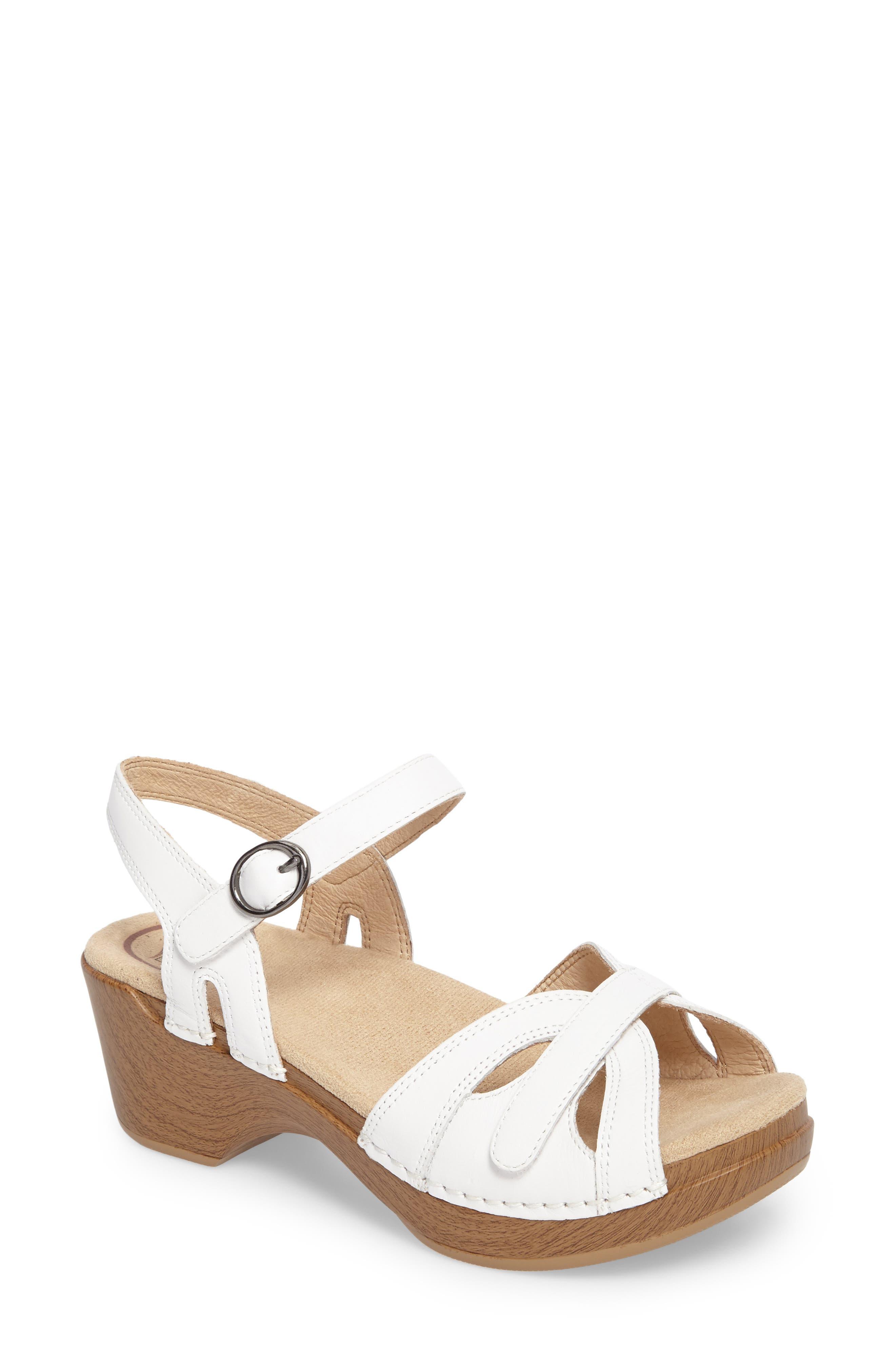 DANSKO Season Sandal, Main, color, WHITE LEATHER