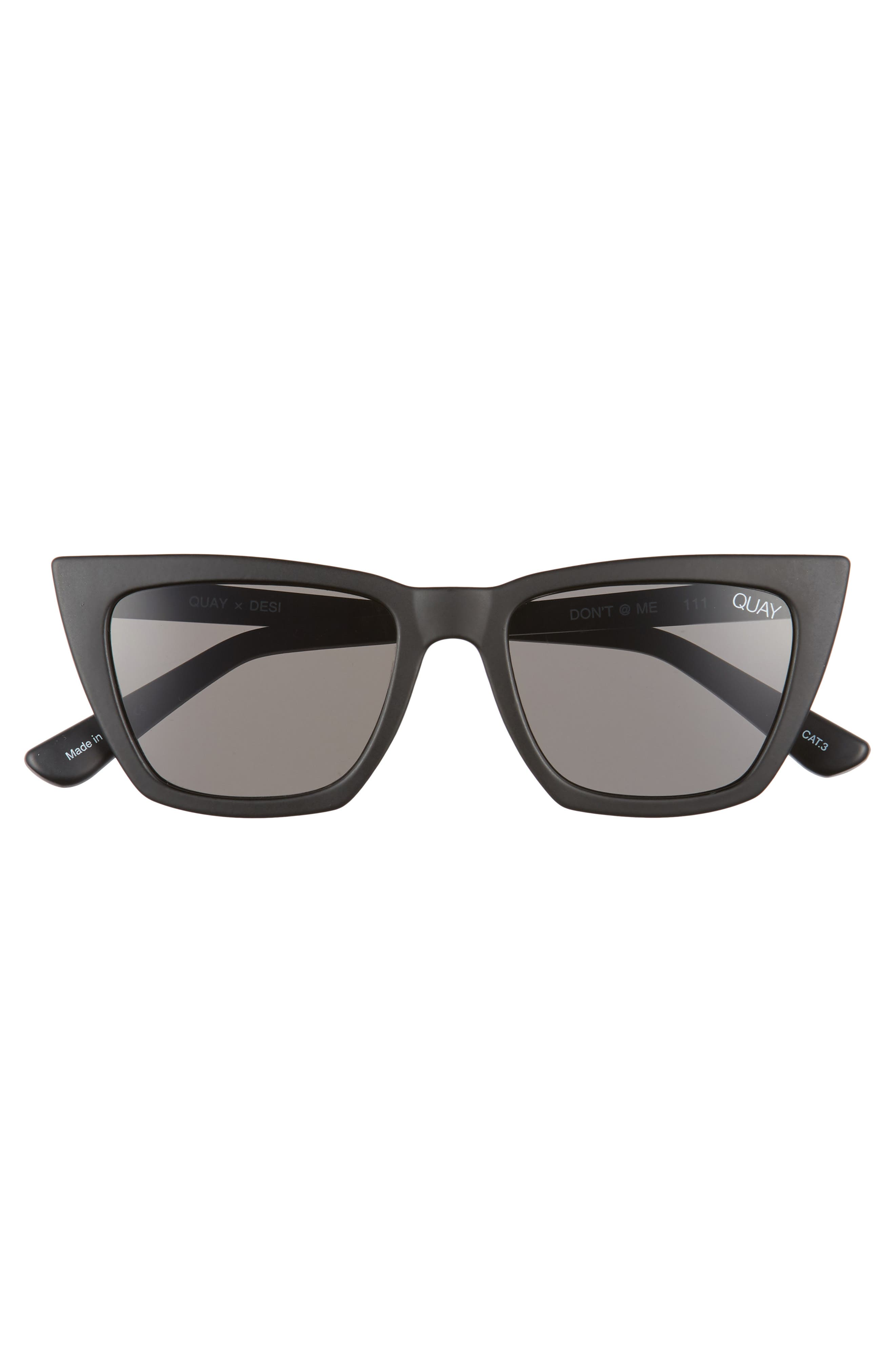 QUAY AUSTRALIA, x Desi Perkins Don't @ Me 48mm Cat Eye Sunglasses, Alternate thumbnail 3, color, BLACK/ SMOKE