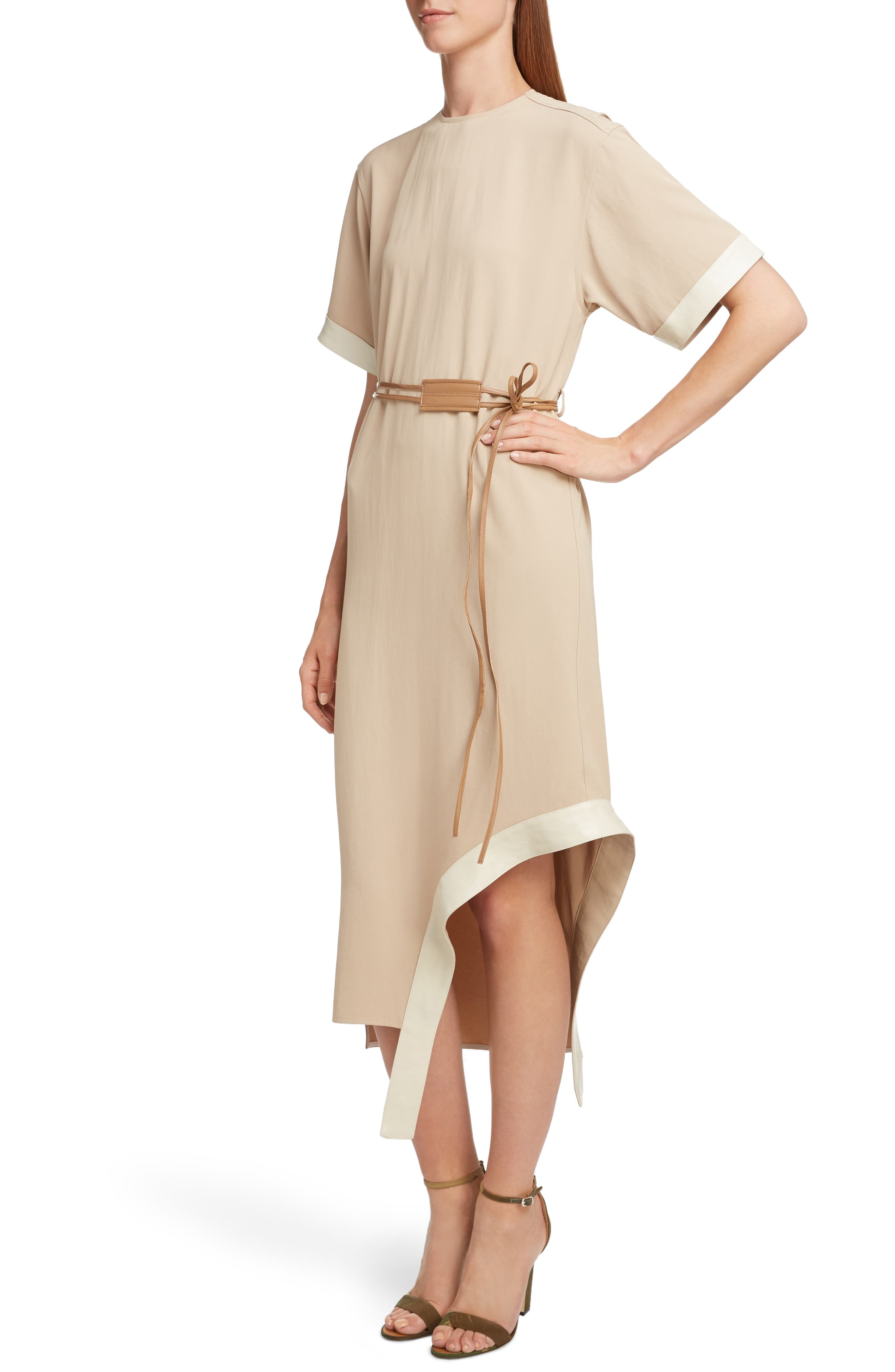 VICTORIA BECKHAM, Leather Belt Asymmetrical Dress, Alternate thumbnail 4, color, BEIGE/ CAMEL