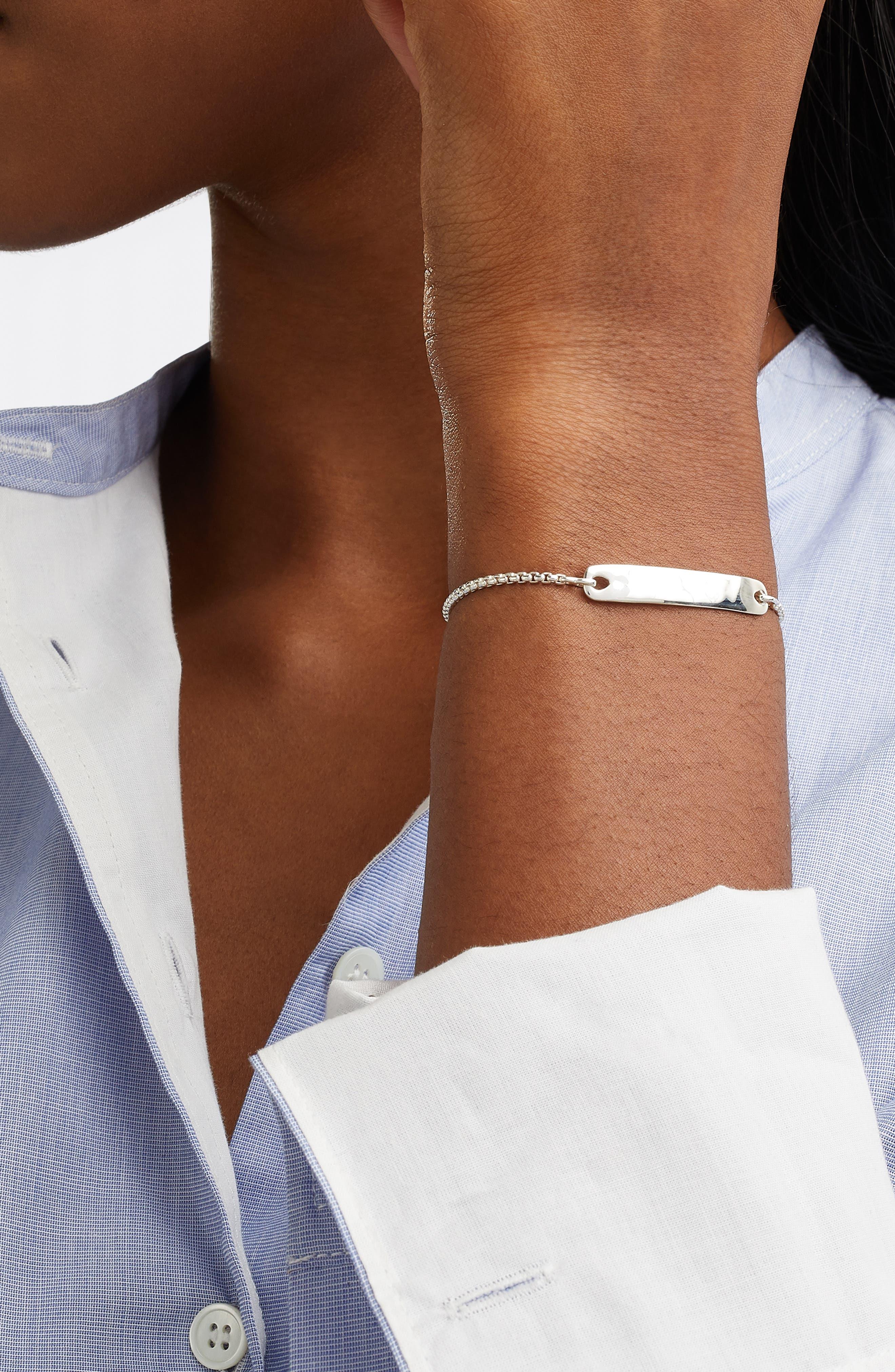 MONICA VINADER, Engravable Havana Friendship Chain Bracelet, Alternate thumbnail 2, color, SILVER