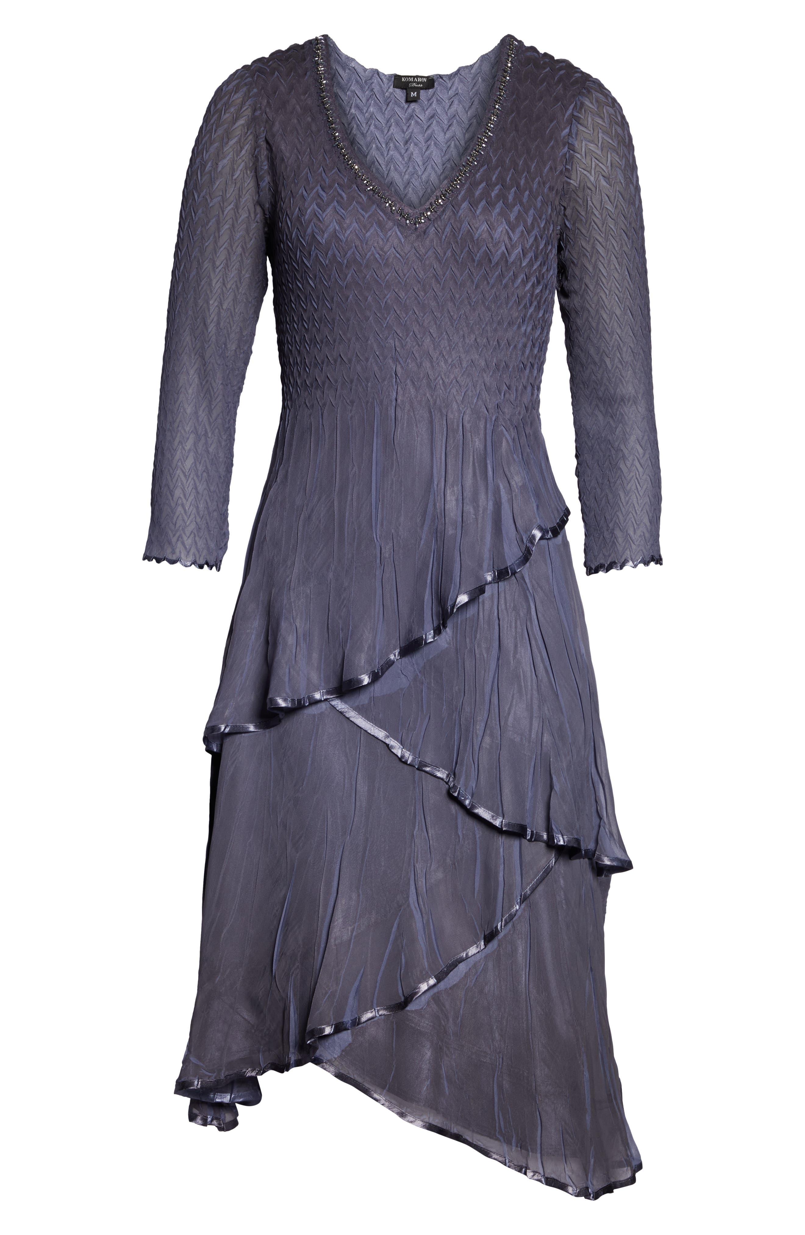 KOMAROV, Tiered Hem Dress, Alternate thumbnail 5, color, 500