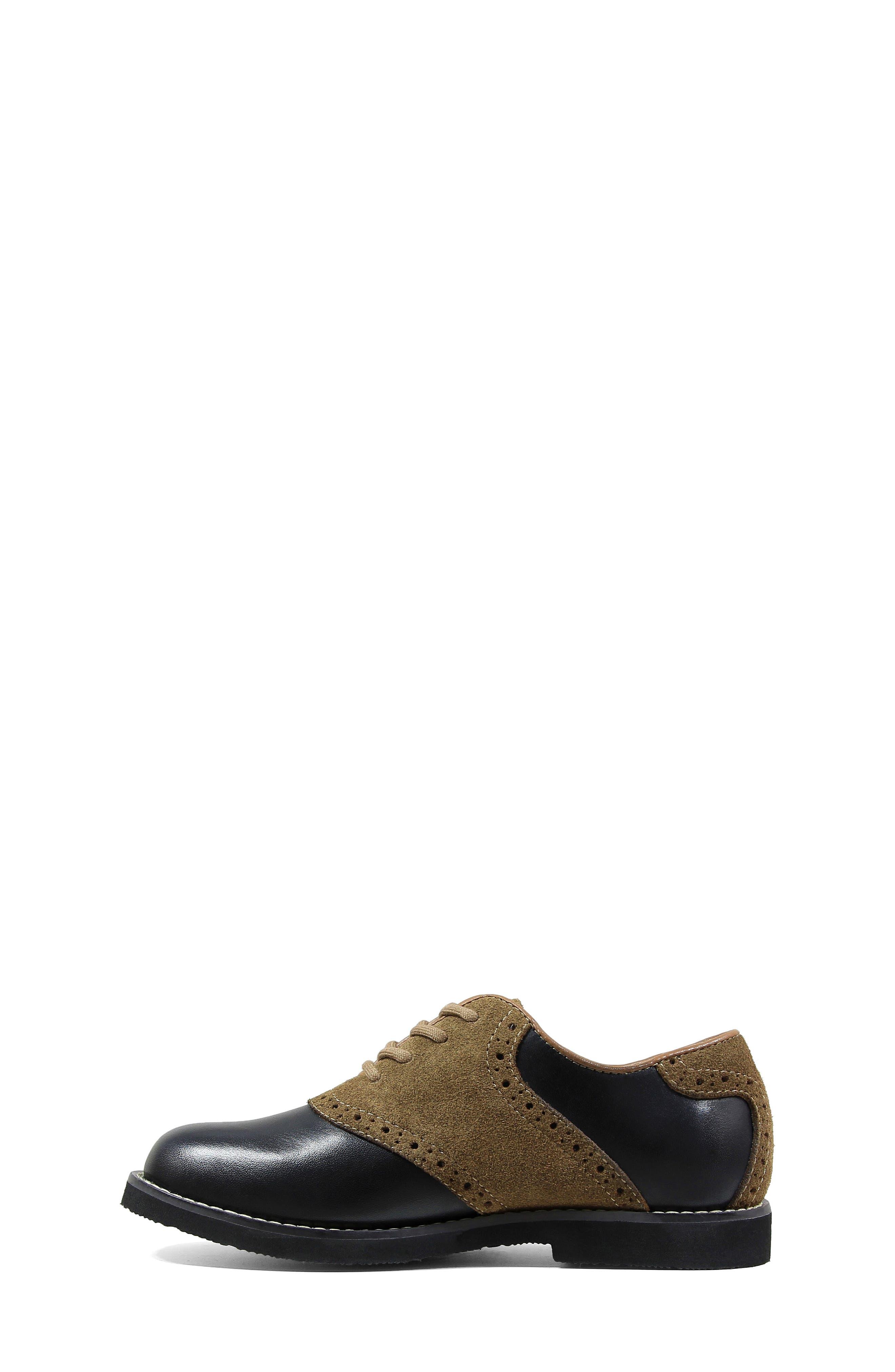 FLORSHEIM, 'Kennett Jr. II' Saddle Shoe, Alternate thumbnail 2, color, SMOOTH BLACK W/ MOCHA SUEDE