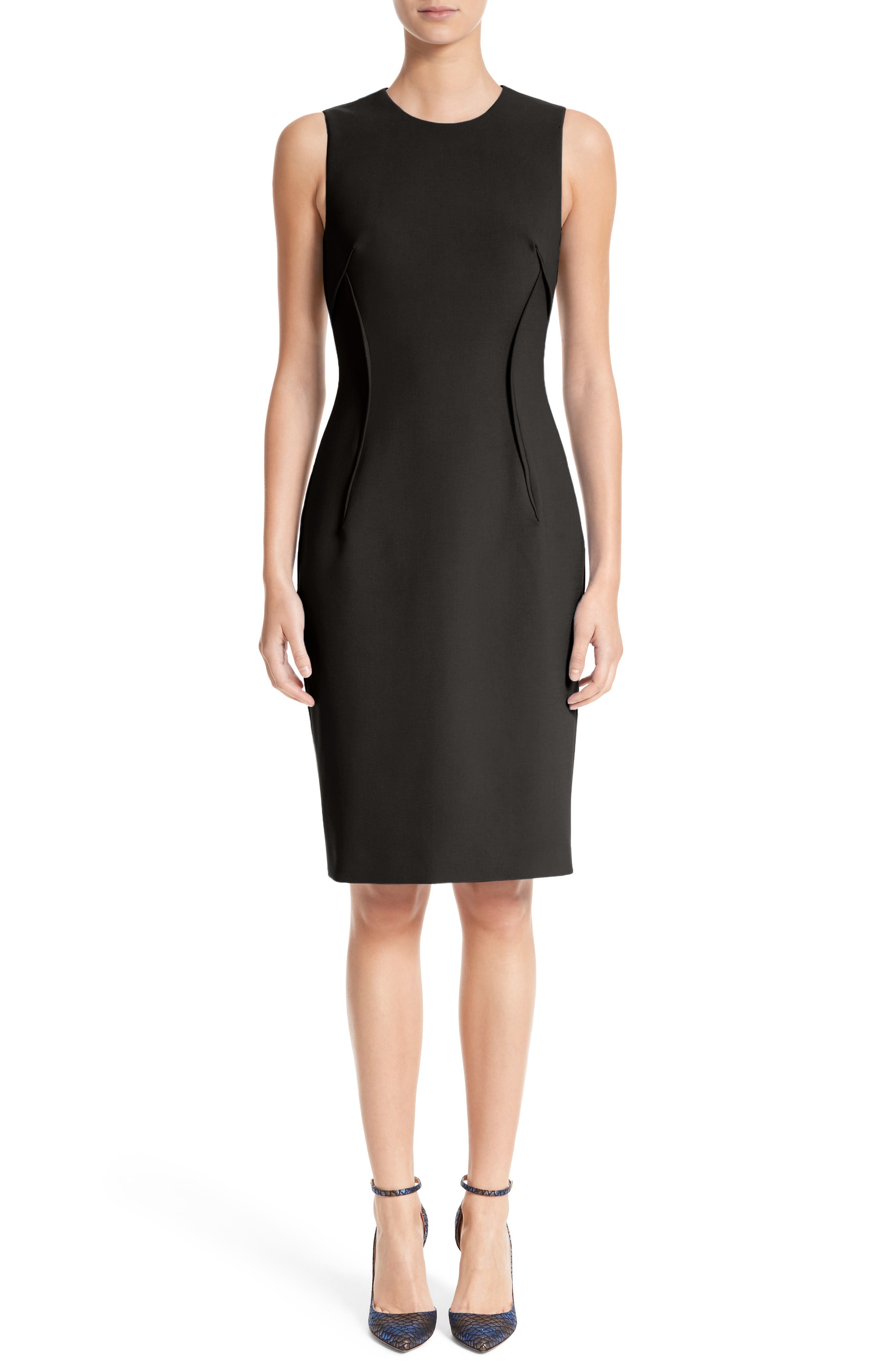 VERSACE COLLECTION, Stretch Cady Sheath Dress, Main thumbnail 1, color, BLACK