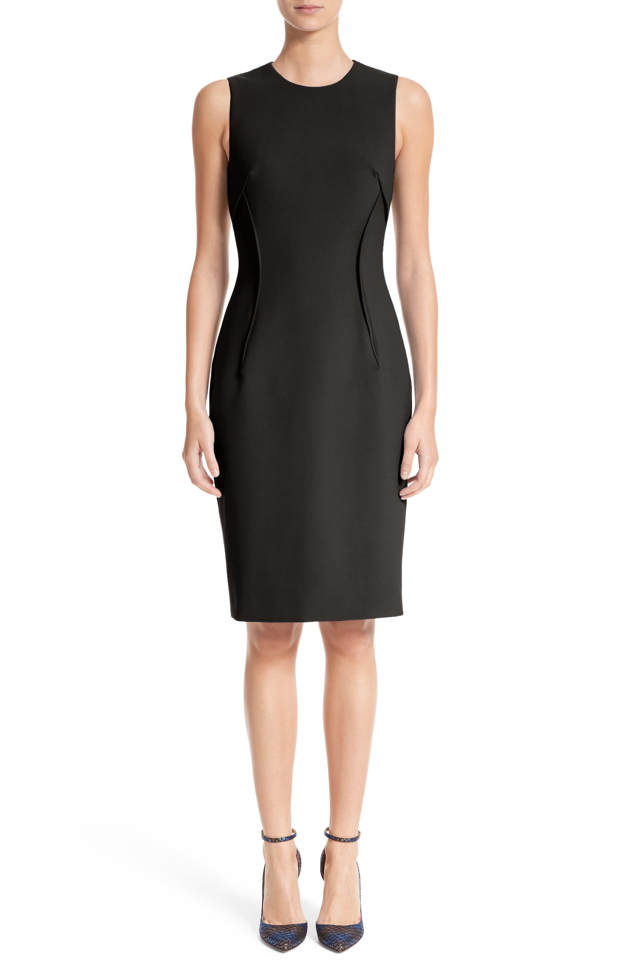 VERSACE COLLECTION Stretch Cady Sheath Dress, Main, color, BLACK