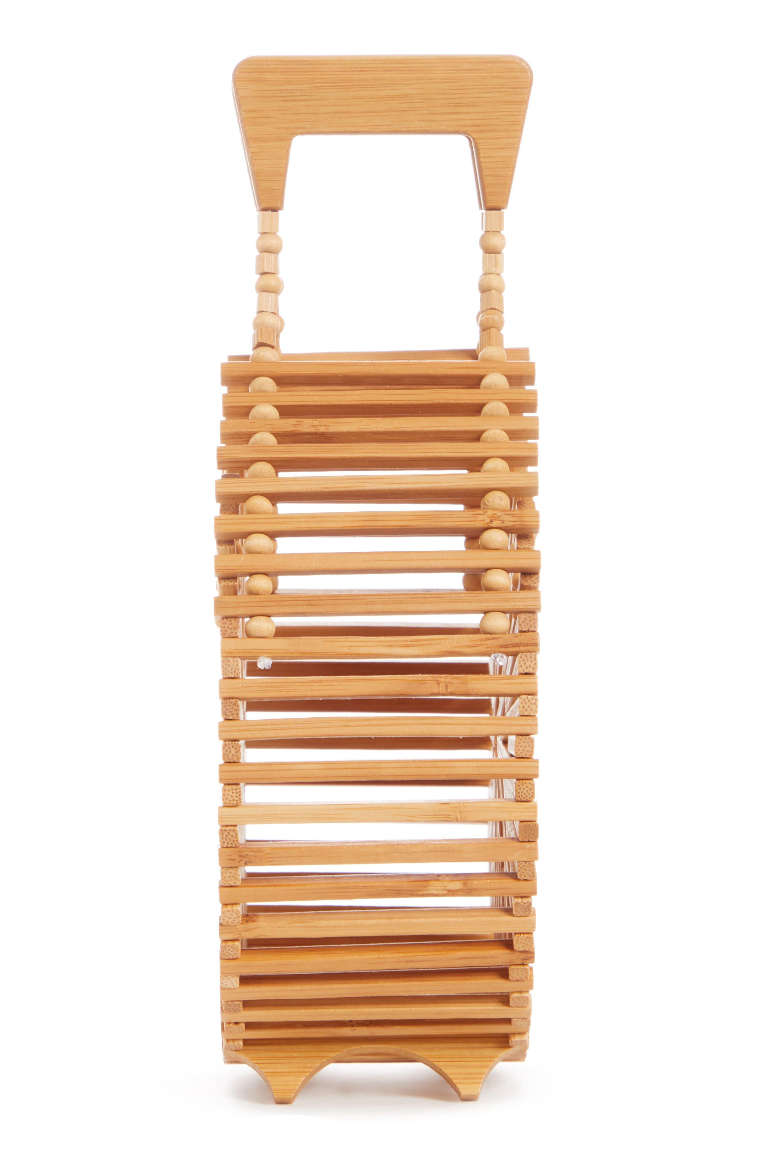 CULT GAIA, Zaha Top Handle Bamboo Bag, Alternate thumbnail 5, color, TAN NATURAL