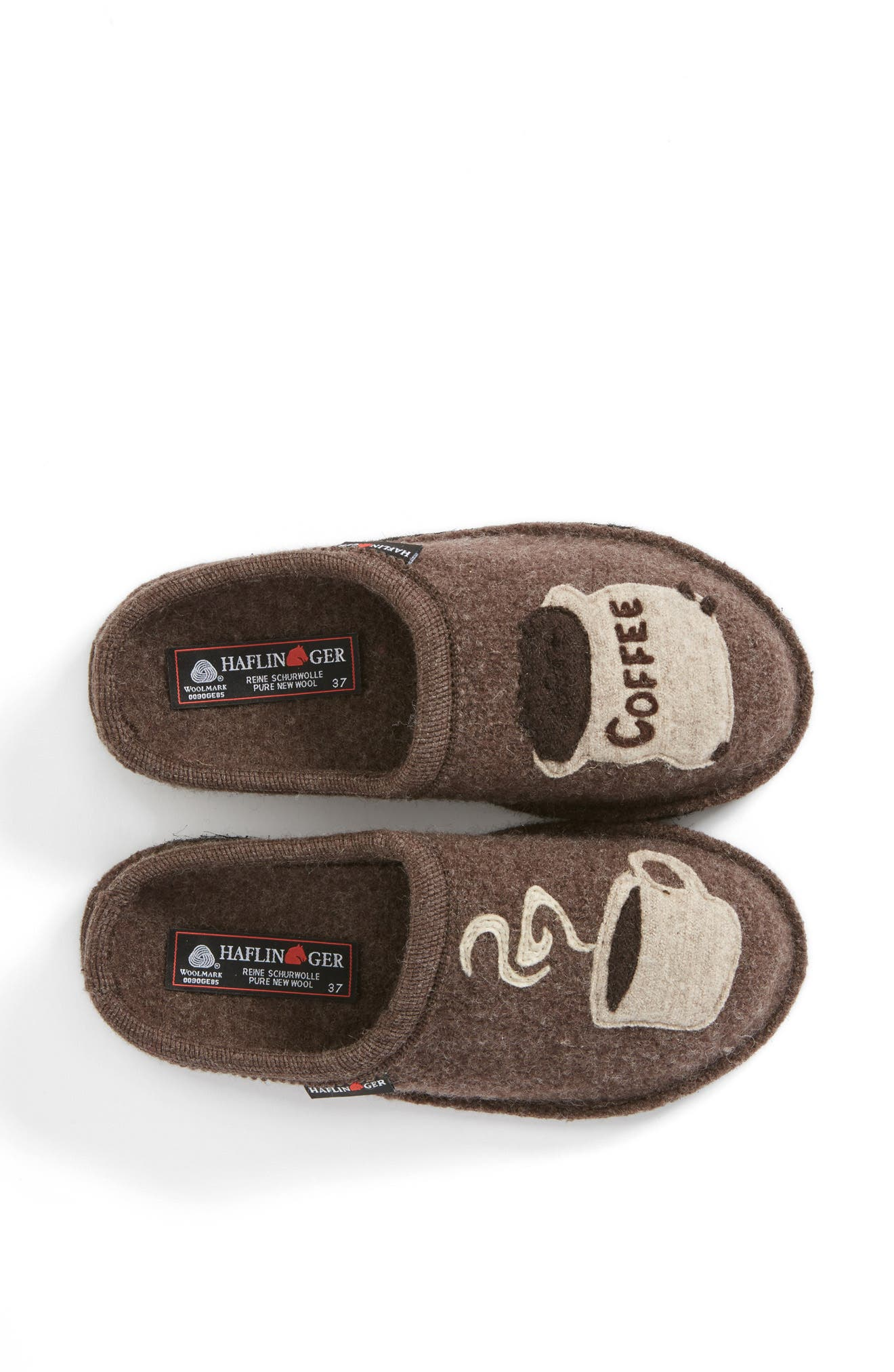 HAFLINGER, 'Coffee' Slipper, Alternate thumbnail 2, color, EARTH WOOL