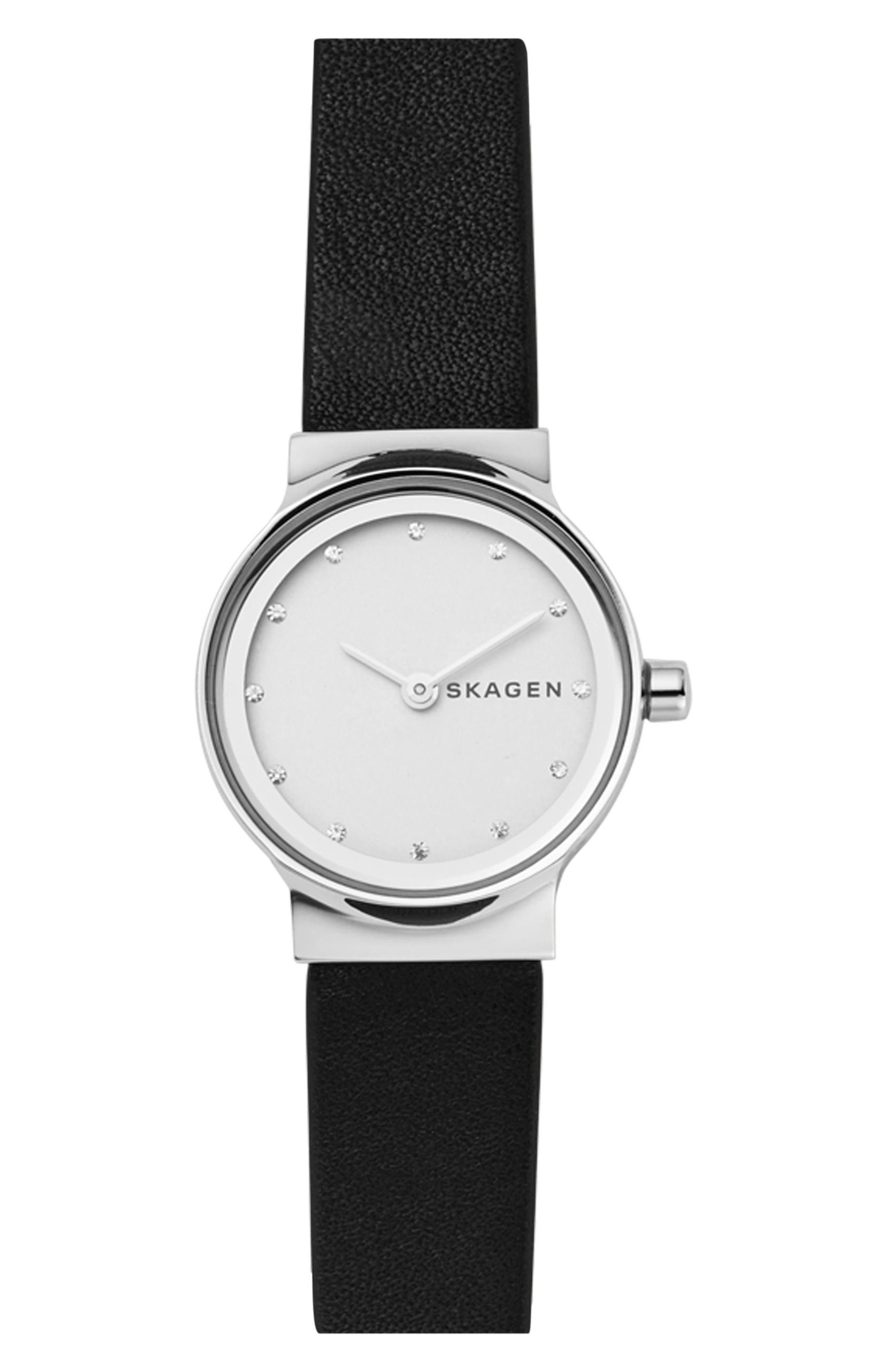 SKAGEN Freja Crystal Accent Leather Strap Watch, 26mm, Main, color, BLACK/ WHITE/ SILVER