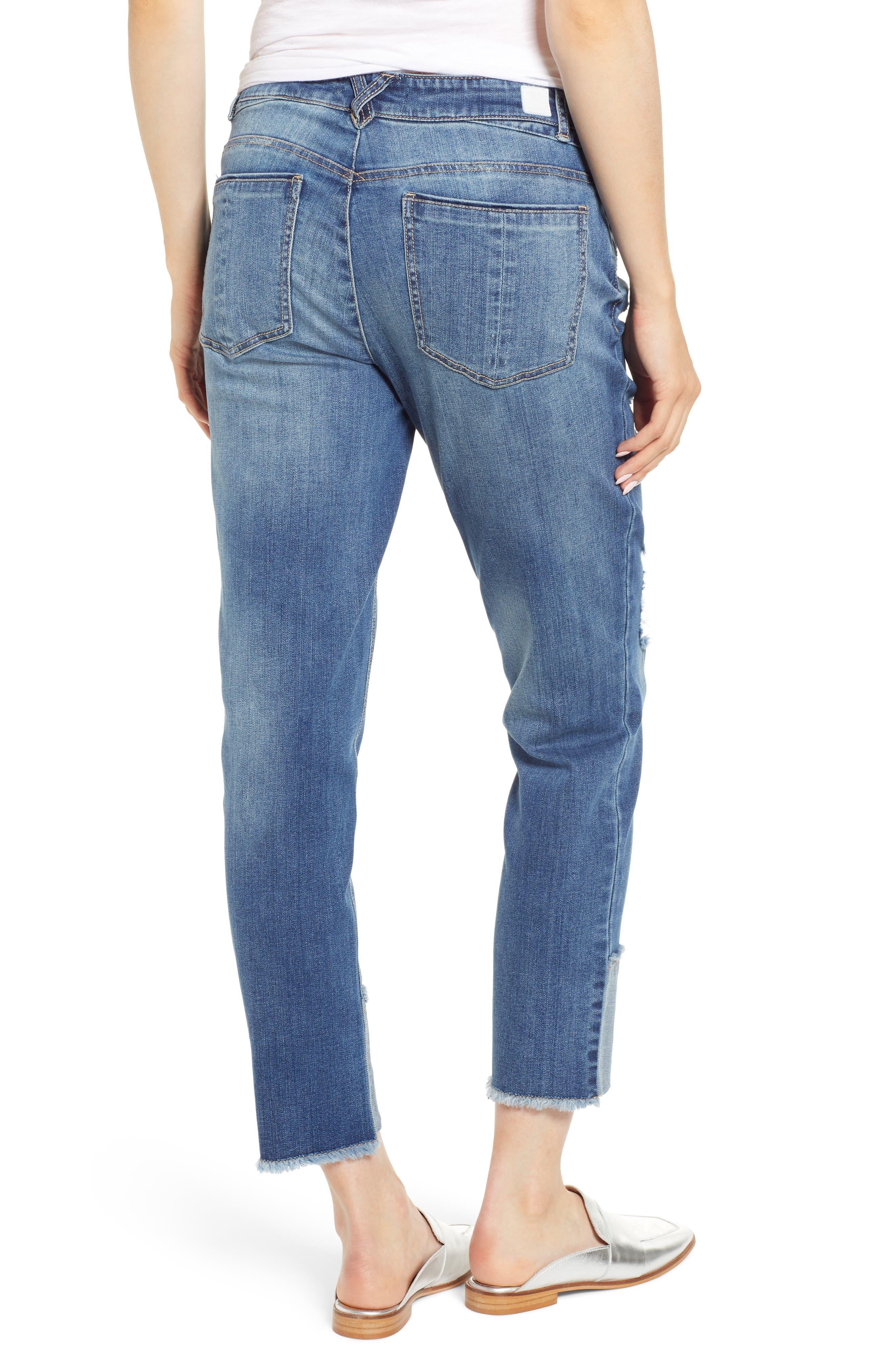 WIT & WISDOM, Flex-ellent Distressed Straight Leg Jeans, Alternate thumbnail 2, color, BLUE