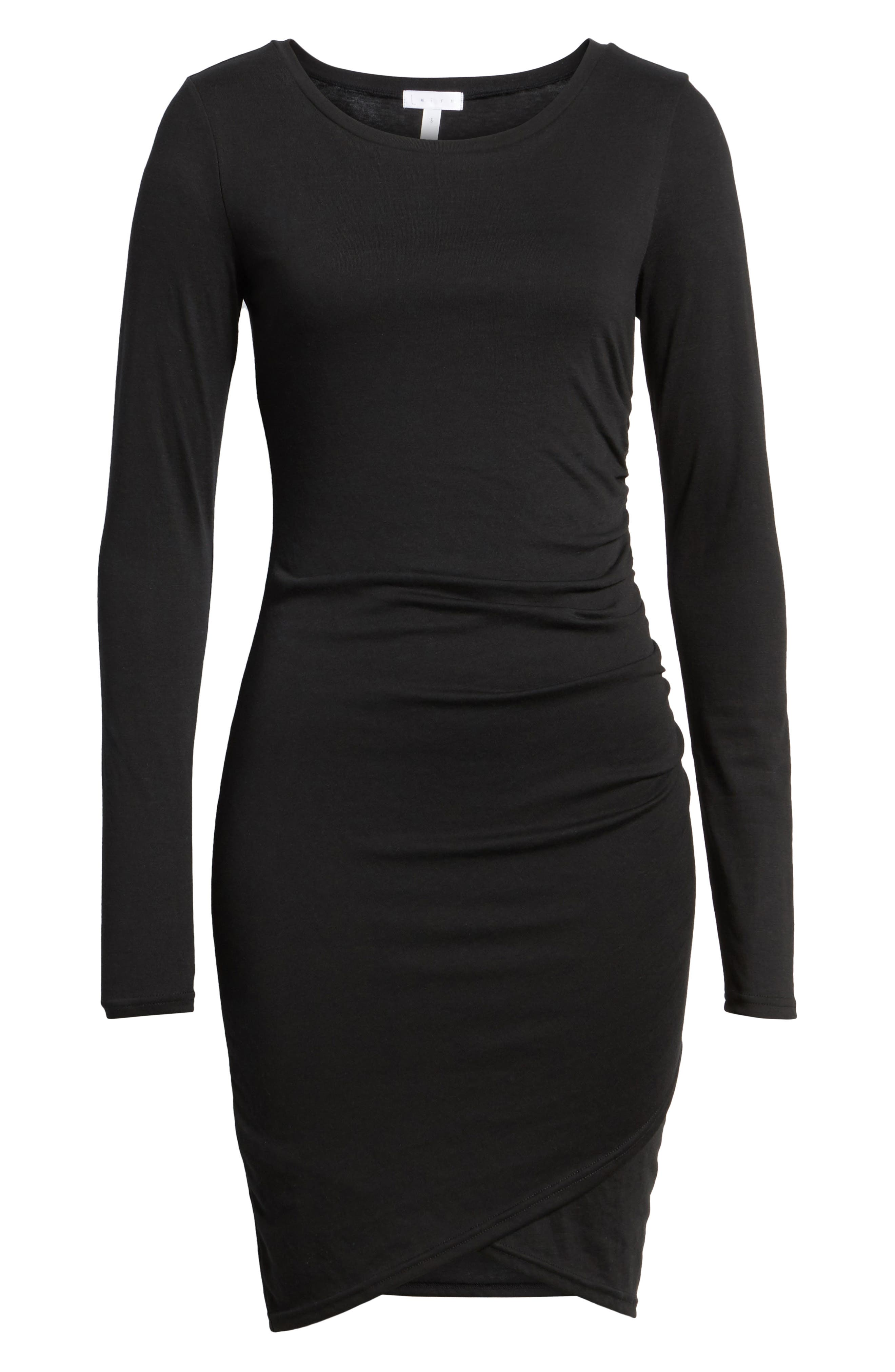 LEITH, Ruched Long Sleeve Dress, Alternate thumbnail 7, color, 001