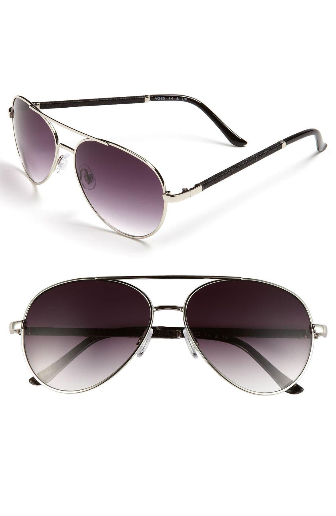 FE NY, 56mm Aviator Sunglasses, Main thumbnail 1, color, 040
