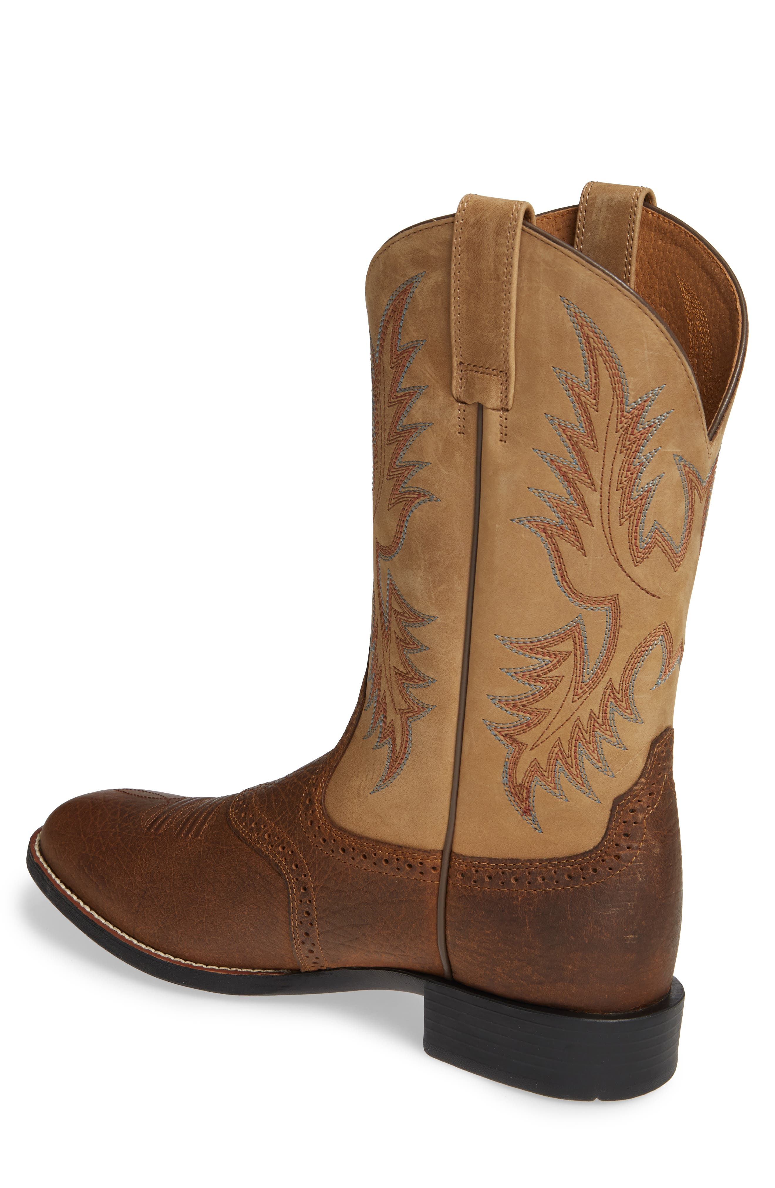 ARIAT, Heritage Stockman Cowboy Boot, Alternate thumbnail 2, color, BROWN/ BEIGE LEATHER