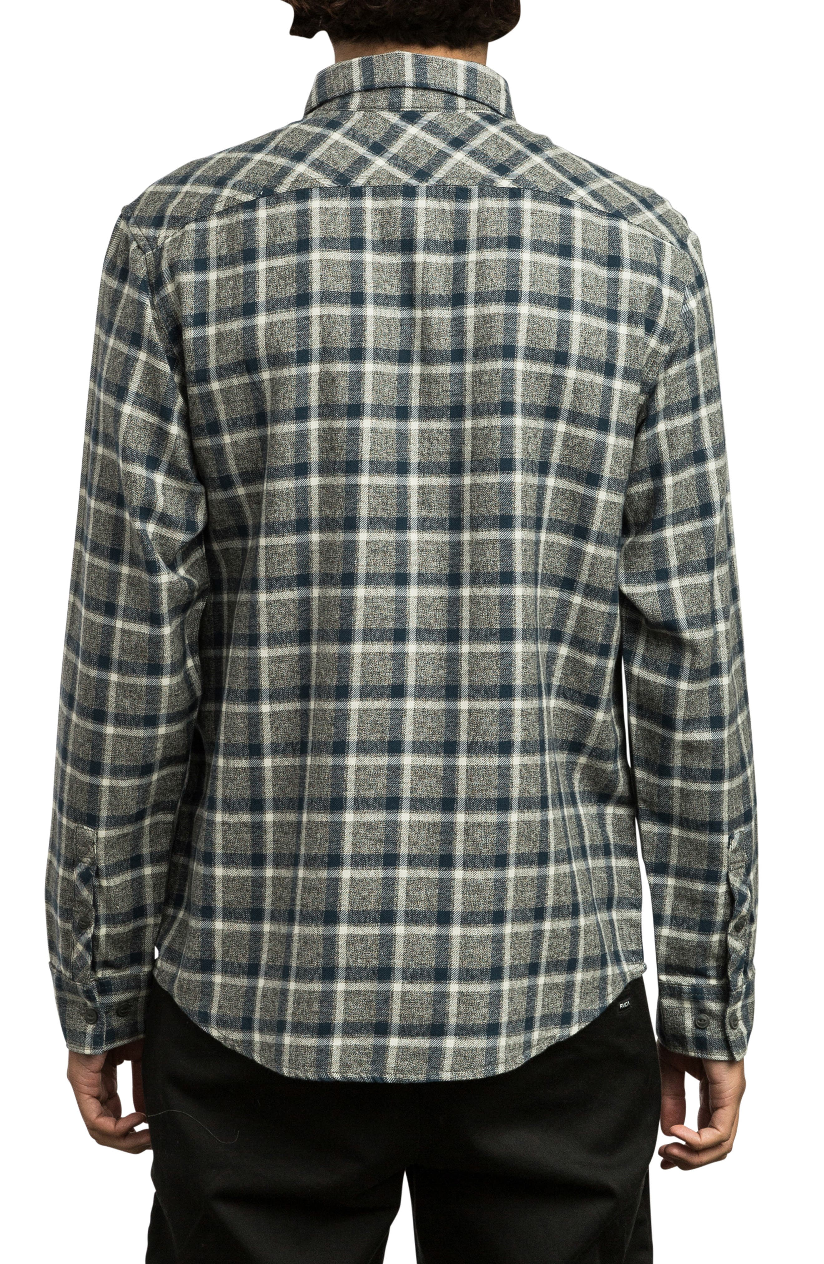 RVCA, Hero Flannel Shirt, Alternate thumbnail 2, color, 020