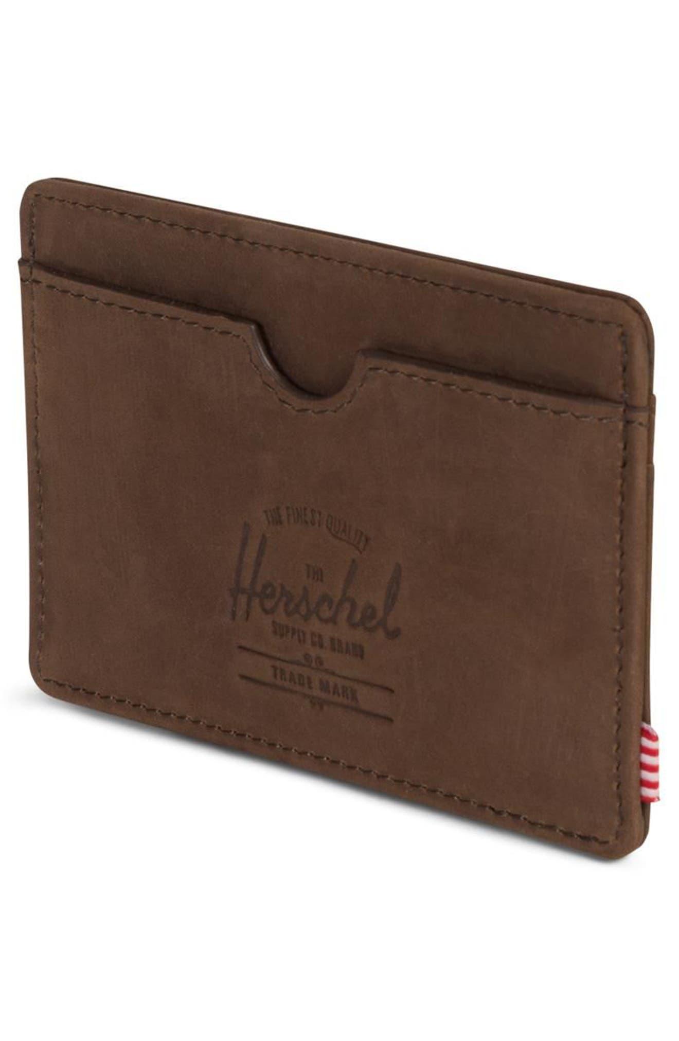 HERSCHEL SUPPLY CO., Charlie Nubuck Leather Card Case, Alternate thumbnail 4, color, NUBUCK BROWN