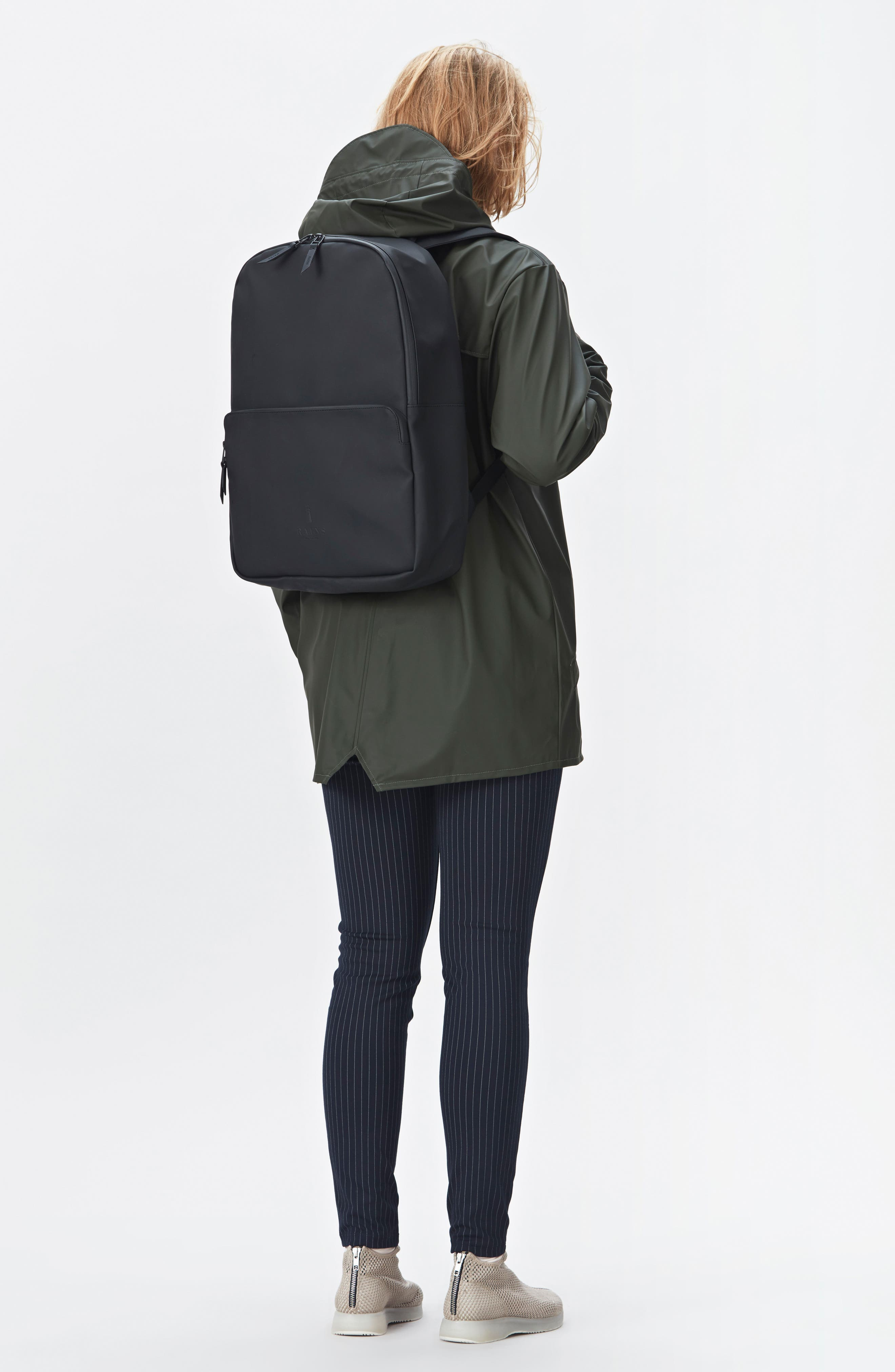 RAINS, Field Backpack, Alternate thumbnail 9, color, BLACK