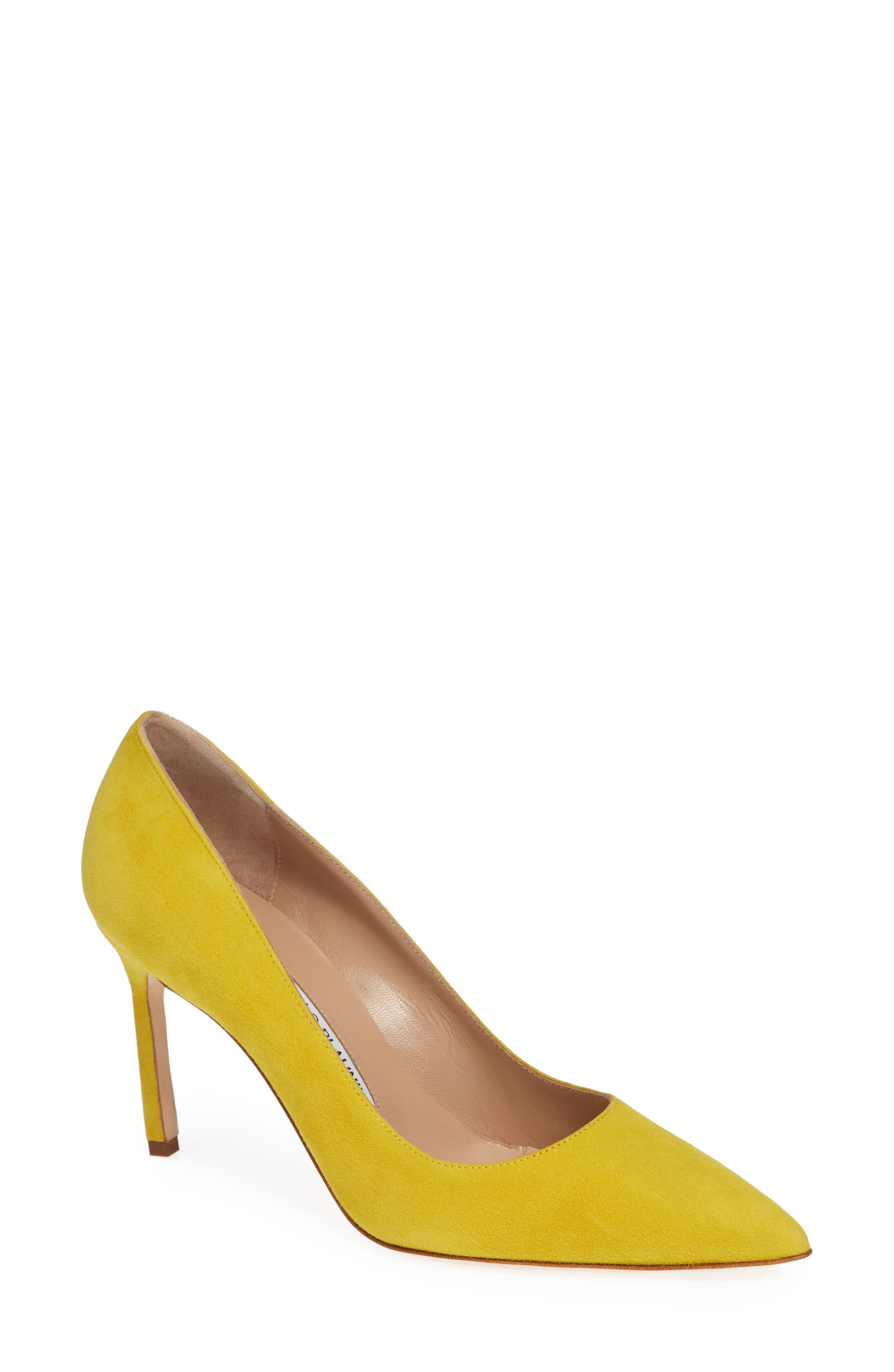 MANOLO BLAHNIK, BB Pointy Toe Pump, Main thumbnail 1, color, LEMON YELLOW SUEDE