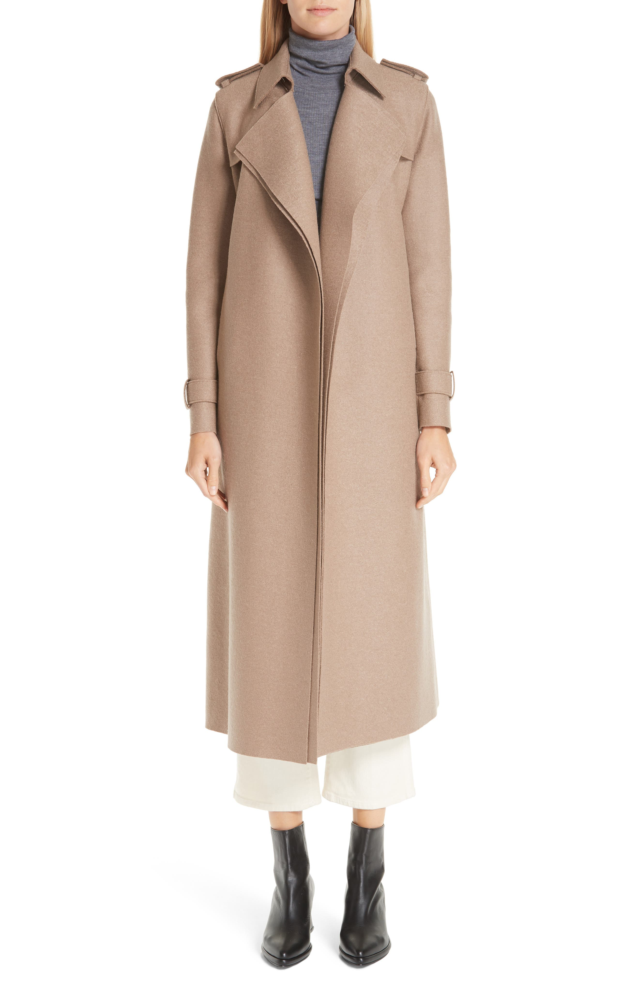 HARRIS WHARF LONDON, Long Belted Trench, Main thumbnail 1, color, CAMEL