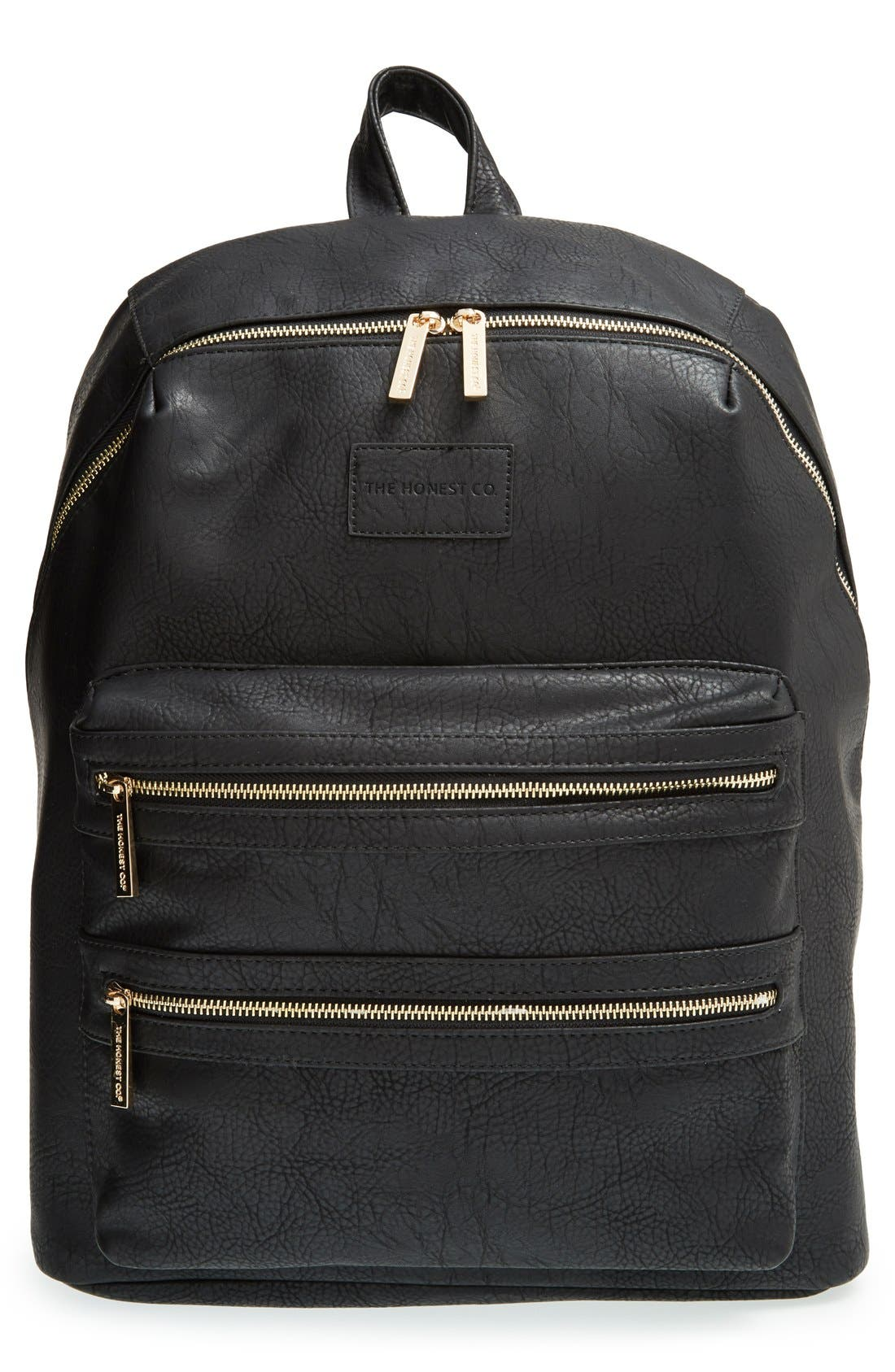 THE HONEST COMPANY, 'City' Faux Leather Diaper Backpack, Main thumbnail 1, color, BLACK