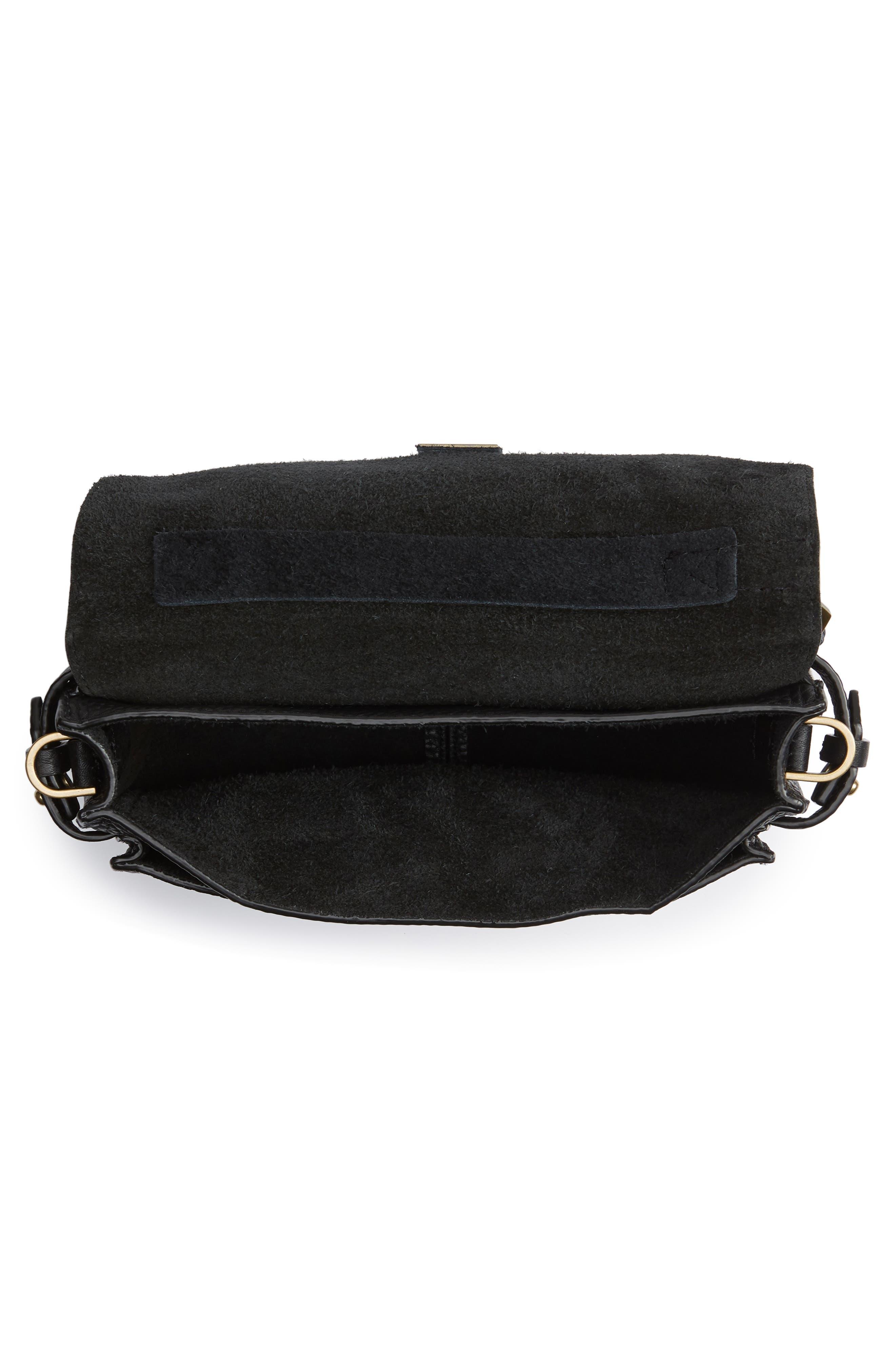 REBECCA MINKOFF, 'Small Darren' Leather Messenger Bag, Alternate thumbnail 4, color, BLACK