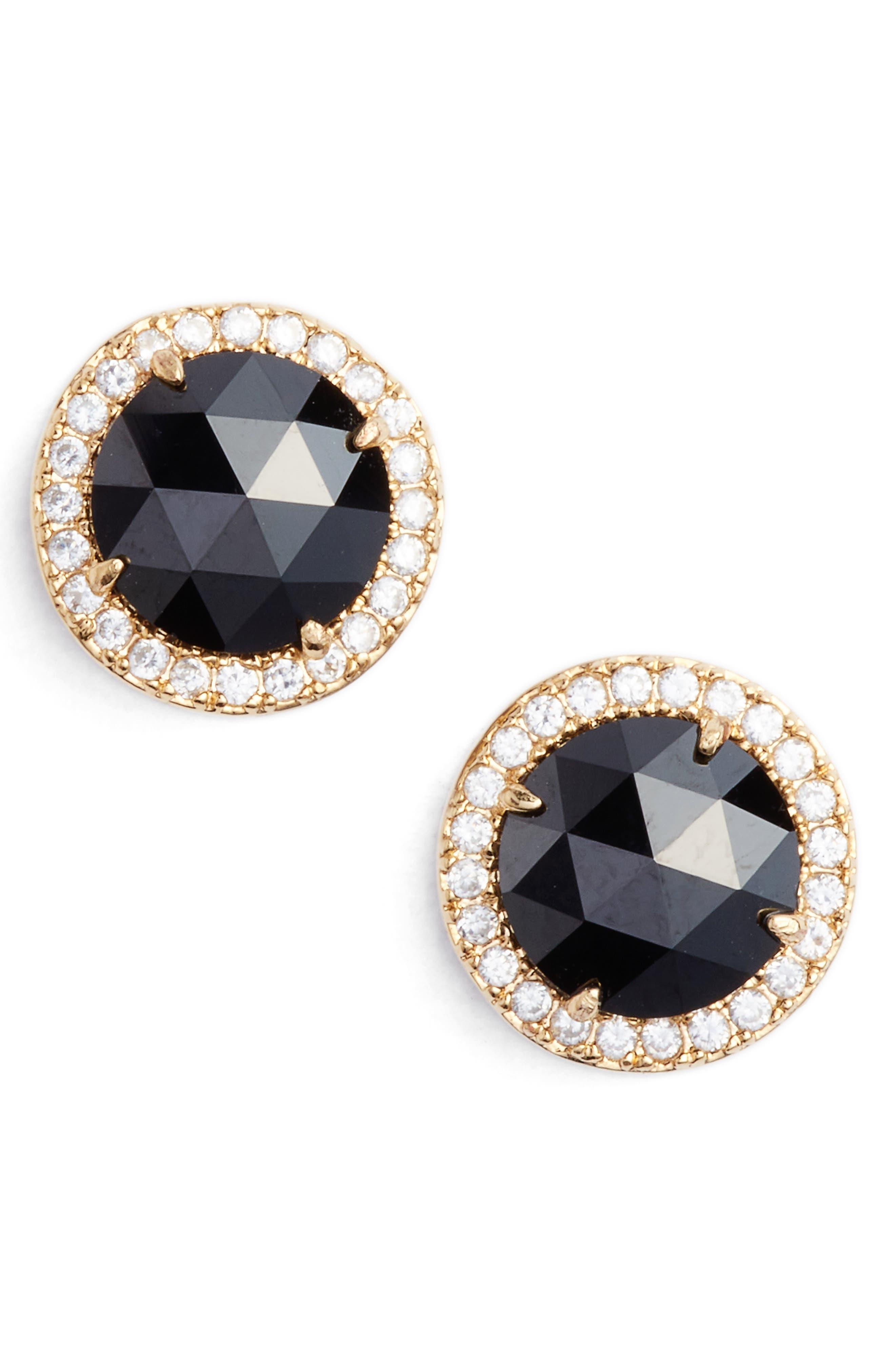 KATE SPADE NEW YORK bright ideas pavé halo stud earrings, Main, color, JET