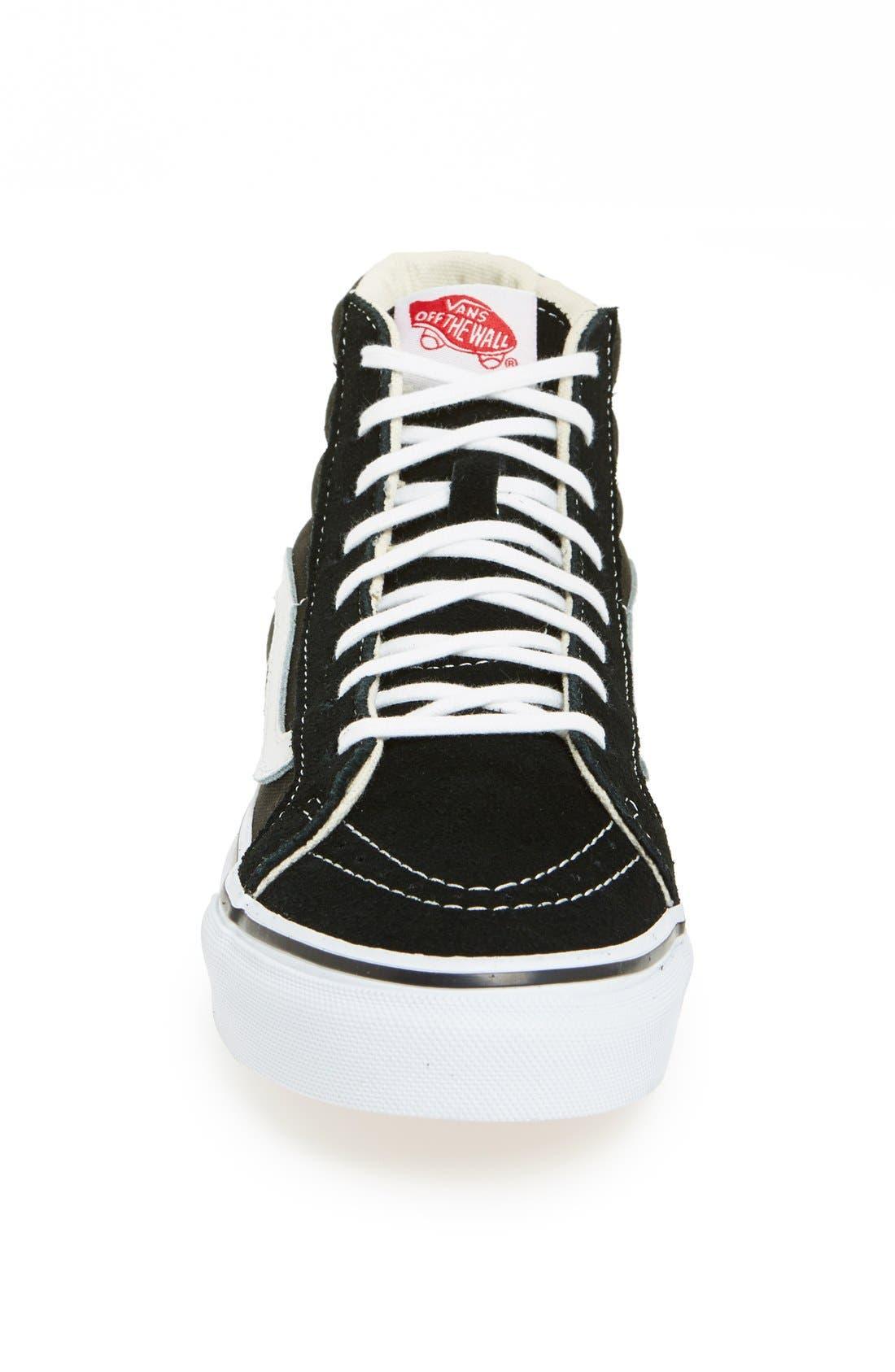 VANS, Sk8-Hi Slim High Top Sneaker, Alternate thumbnail 3, color, BLACK TRUE WHITE