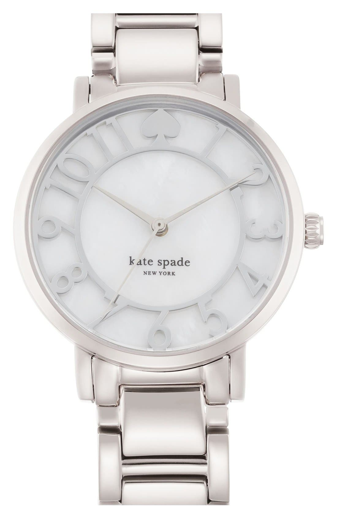 KATE SPADE NEW YORK, 'gramercy' mother-of-pearl bracelet watch, 34mm, Main thumbnail 1, color, 040