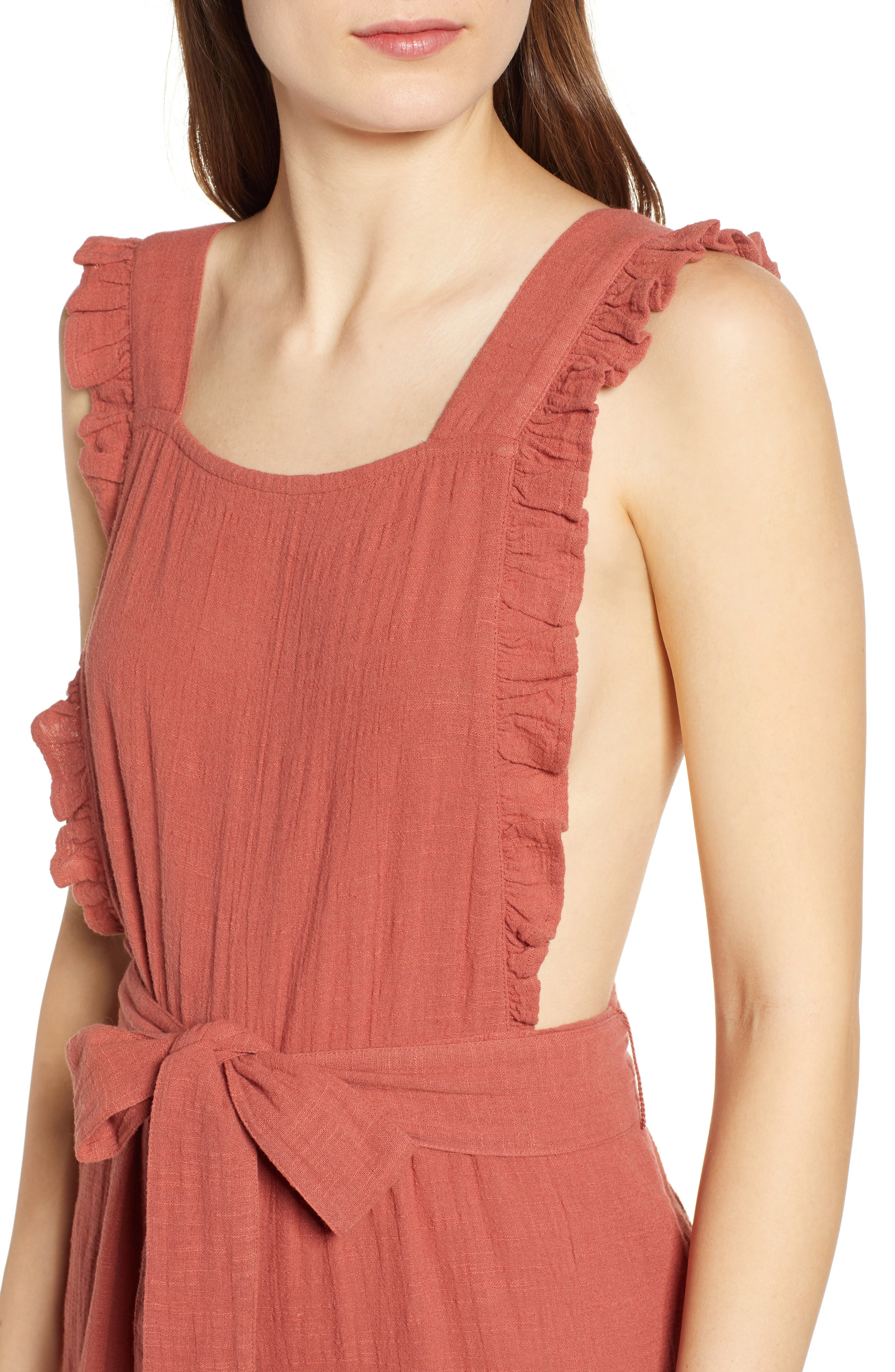 TOPSHOP, Frill Crop Jumpsuit, Alternate thumbnail 5, color, 220