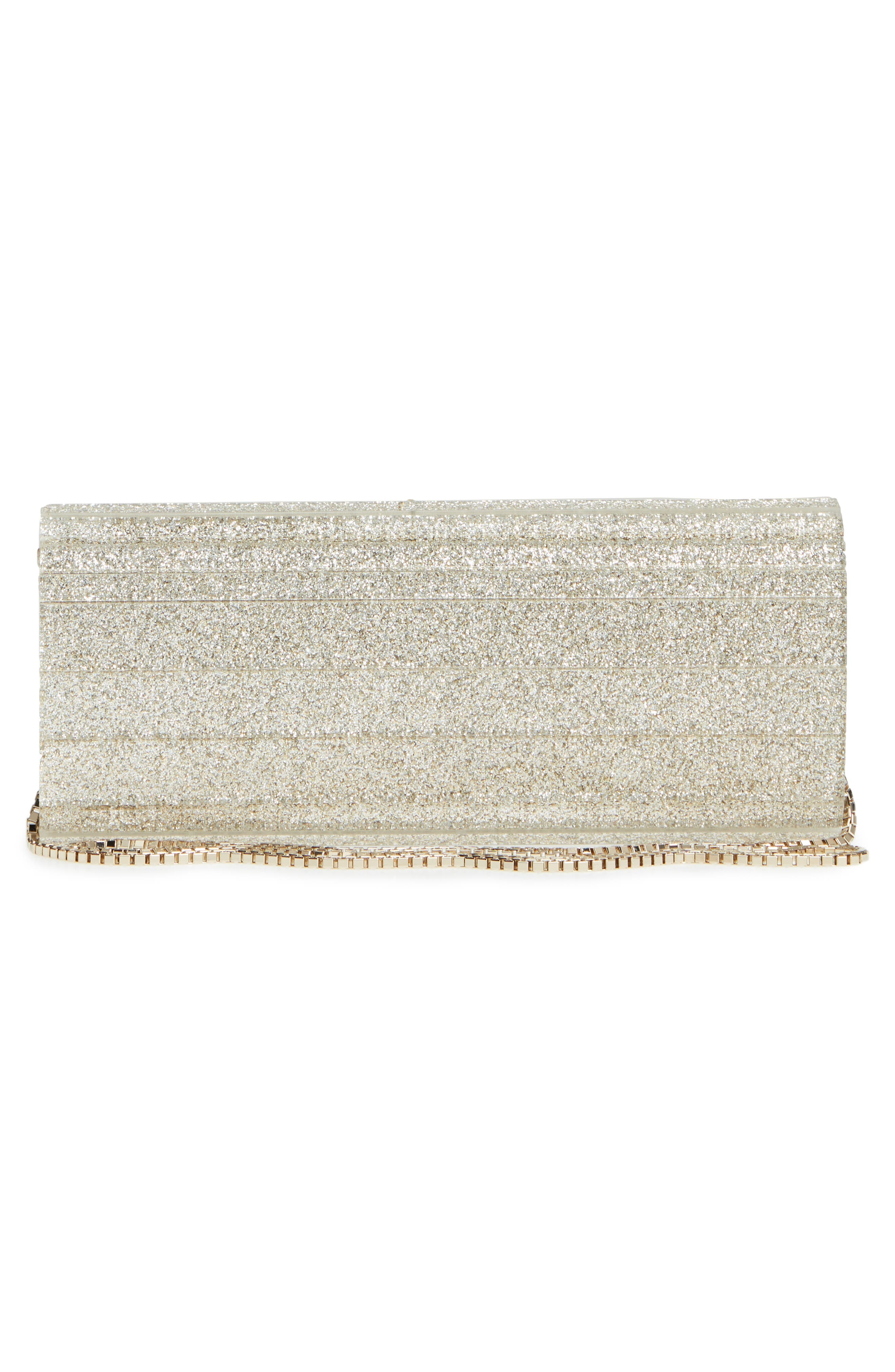 JIMMY CHOO, 'Sweetie' Clutch, Alternate thumbnail 3, color, CHAMPAGNE GLITTER