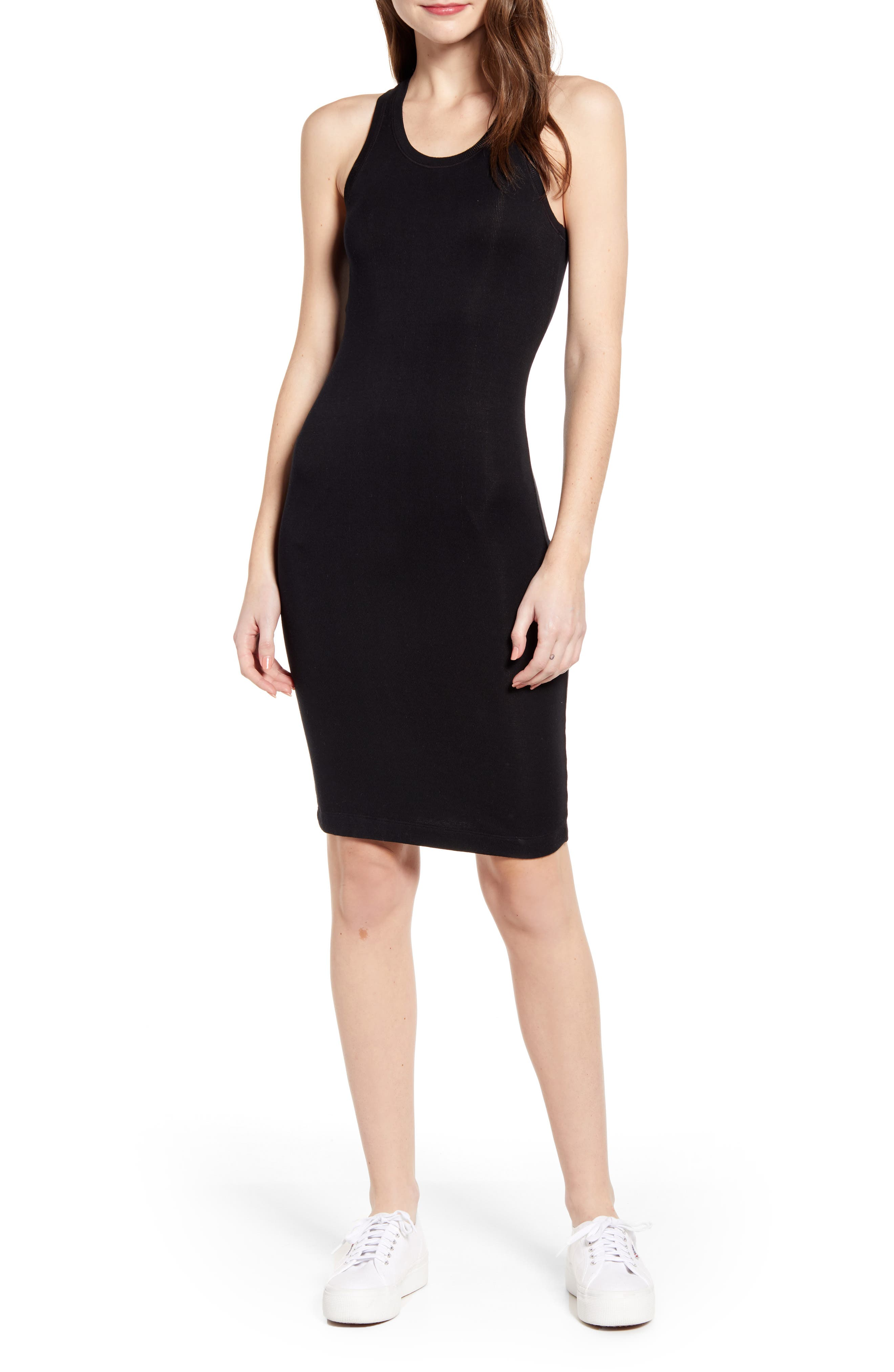 SPLENDID Racerback Knit Dress, Main, color, BLACK