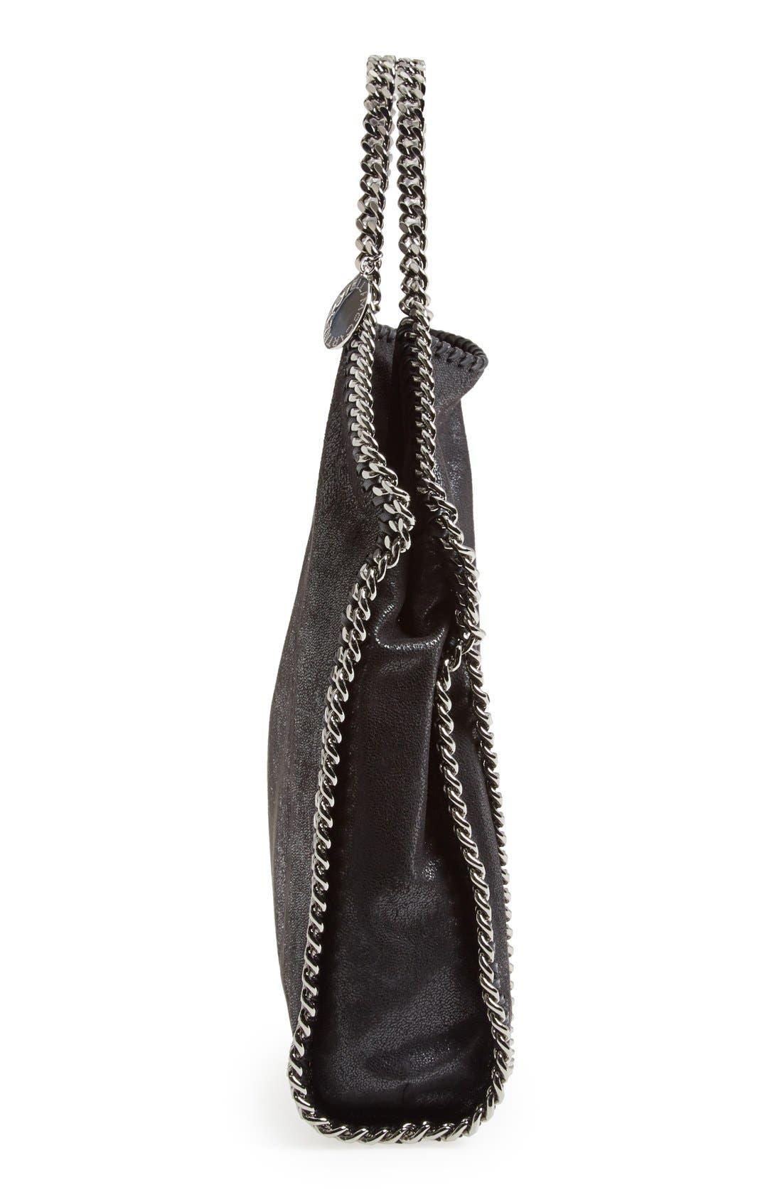 STELLA MCCARTNEY, 'Falabella - Shaggy Deer' Faux Leather Foldover Tote, Alternate thumbnail 2, color, BLACK