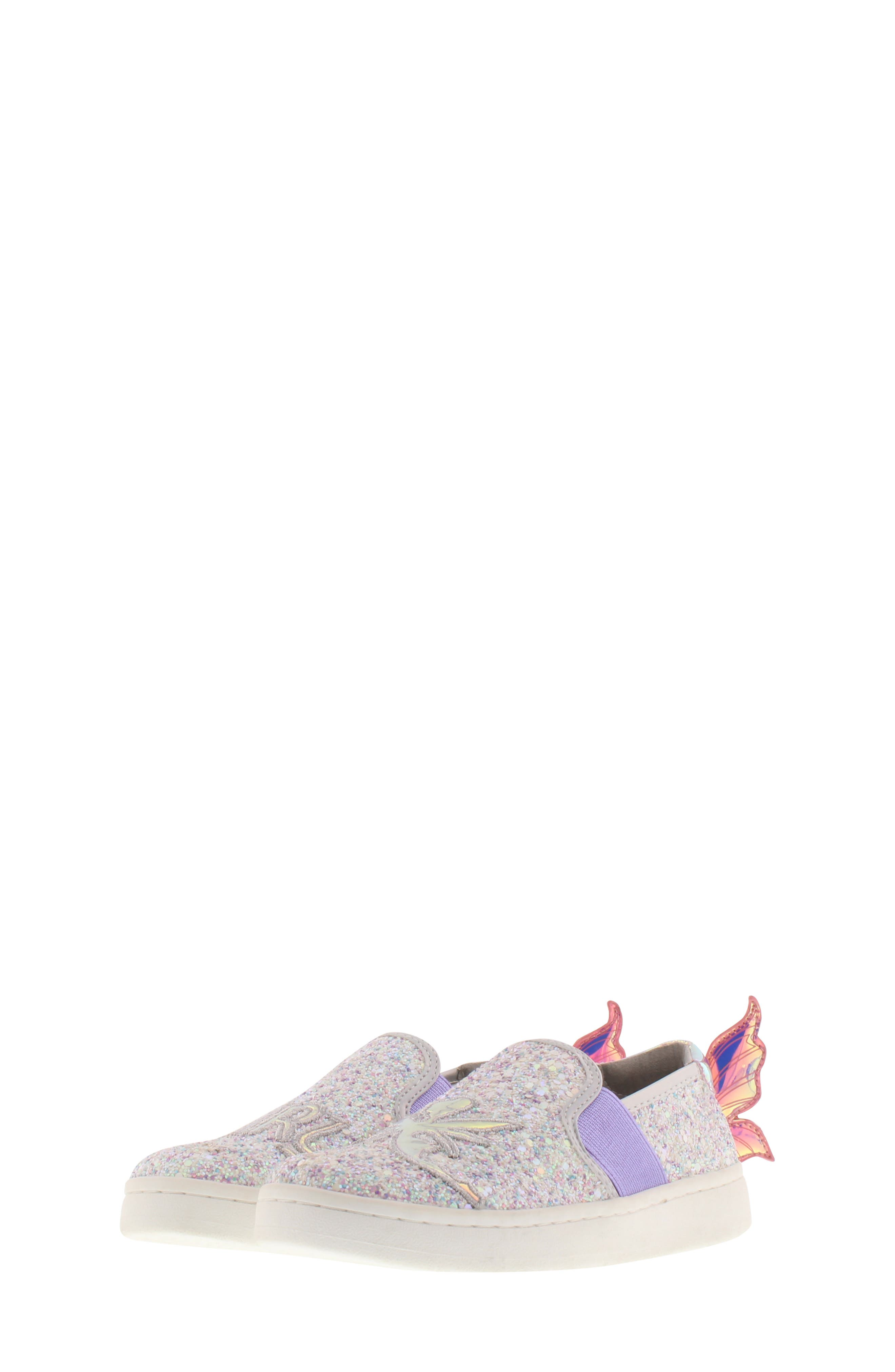 SAM EDELMAN, Blake Lina Fairy Glitter Slip-On Sneaker, Main thumbnail 1, color, PINK/ PURPLE