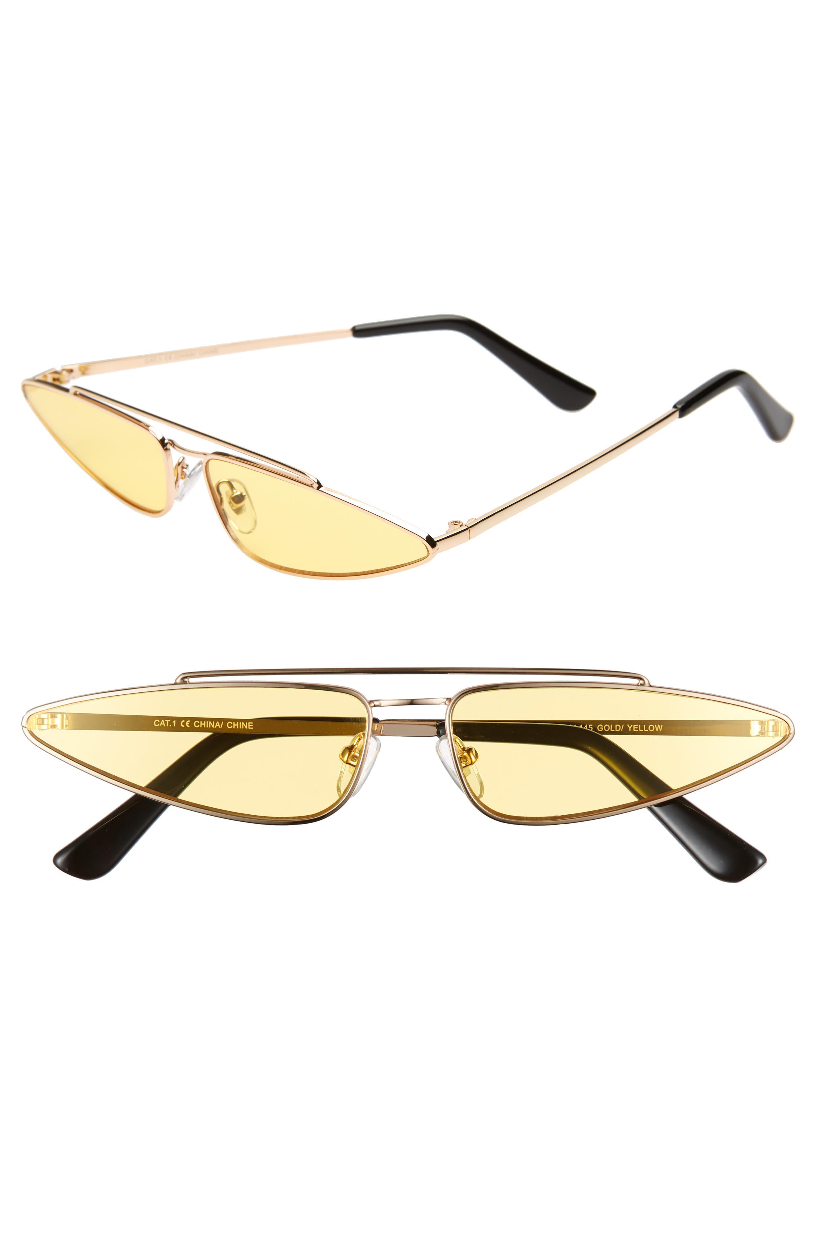 THE RAIL, Zane 45mm Sunglasses, Main thumbnail 1, color, GOLD/ YELLOW