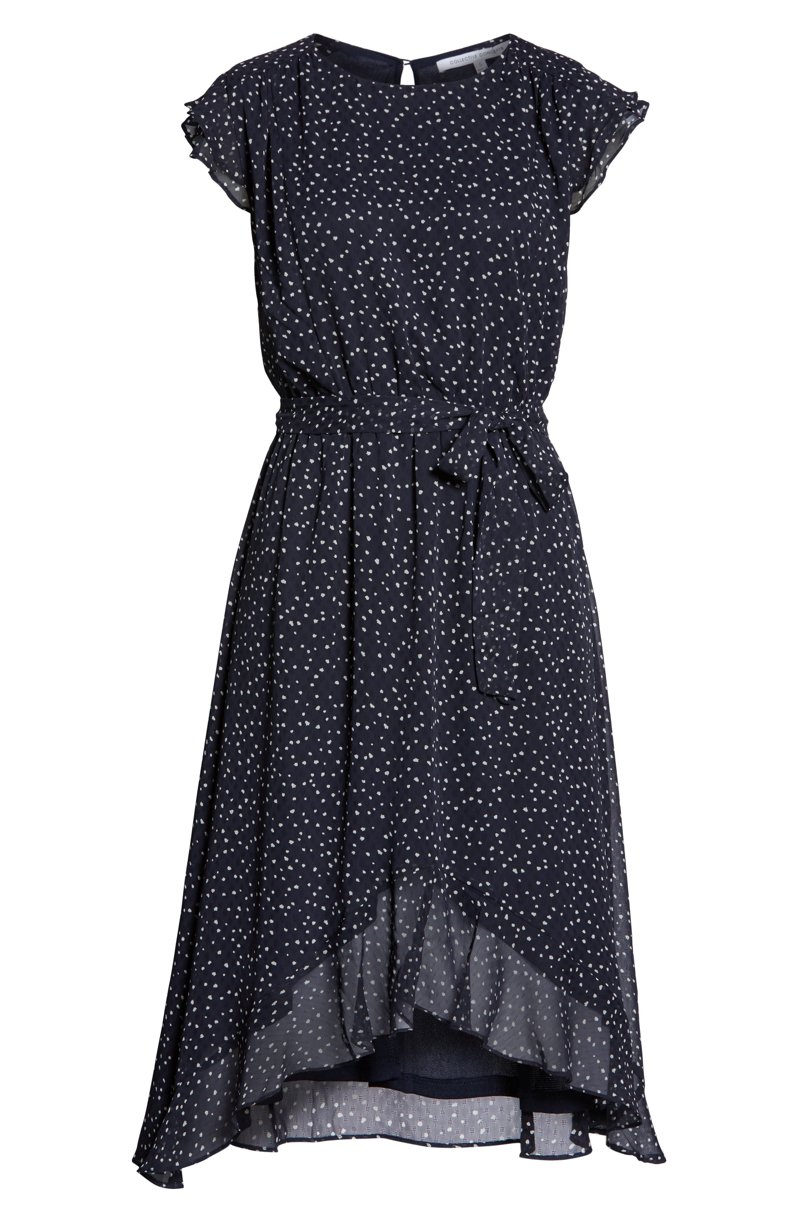 19 COOPER, Polka Dot Ruffle Sleeve Chiffon Dress, Alternate thumbnail 6, color, 400