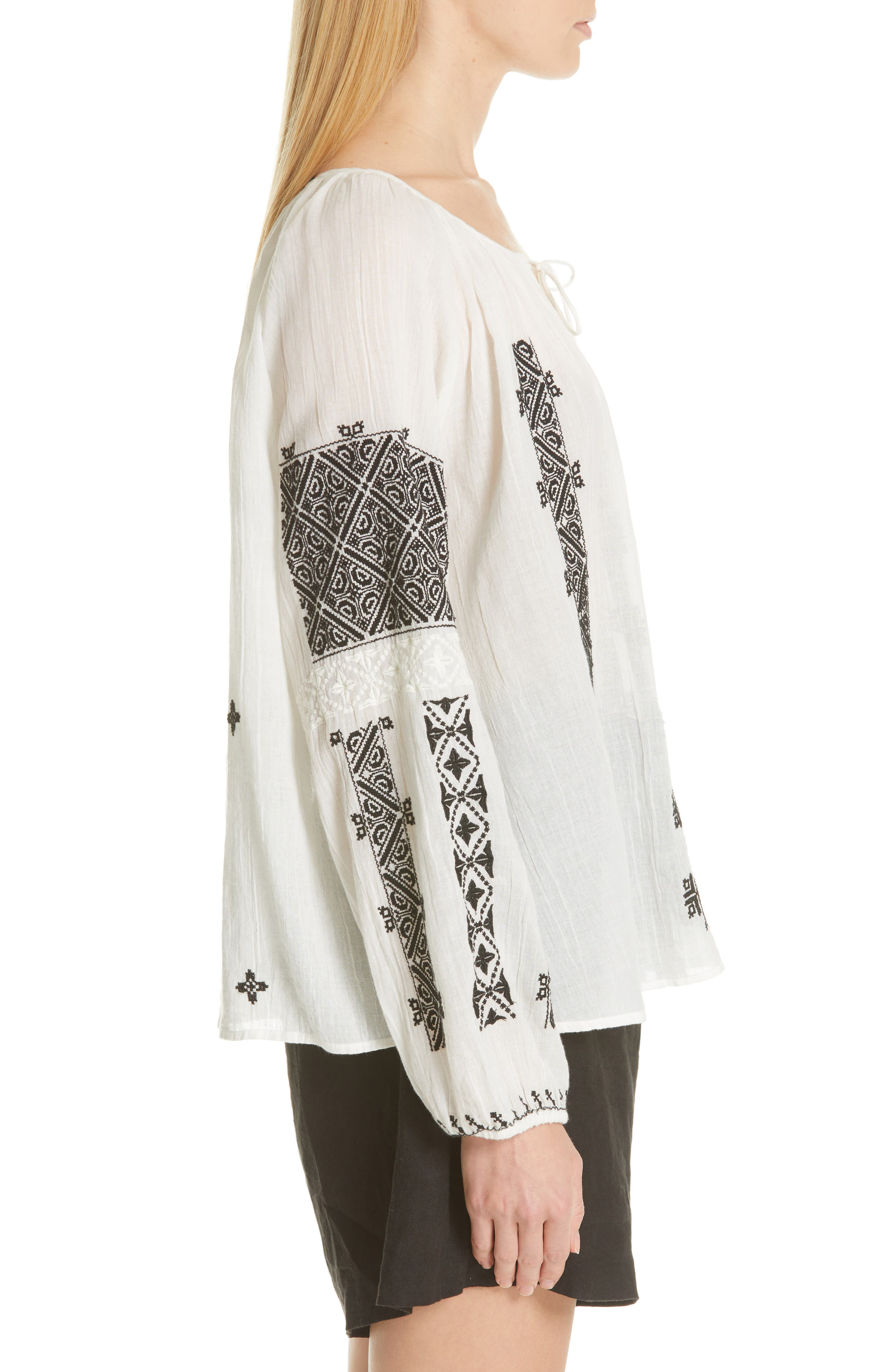 NILI LOTAN, Alassio Embroidered Blouse, Alternate thumbnail 3, color, IVORY WITH BLACK EMBROIDERY
