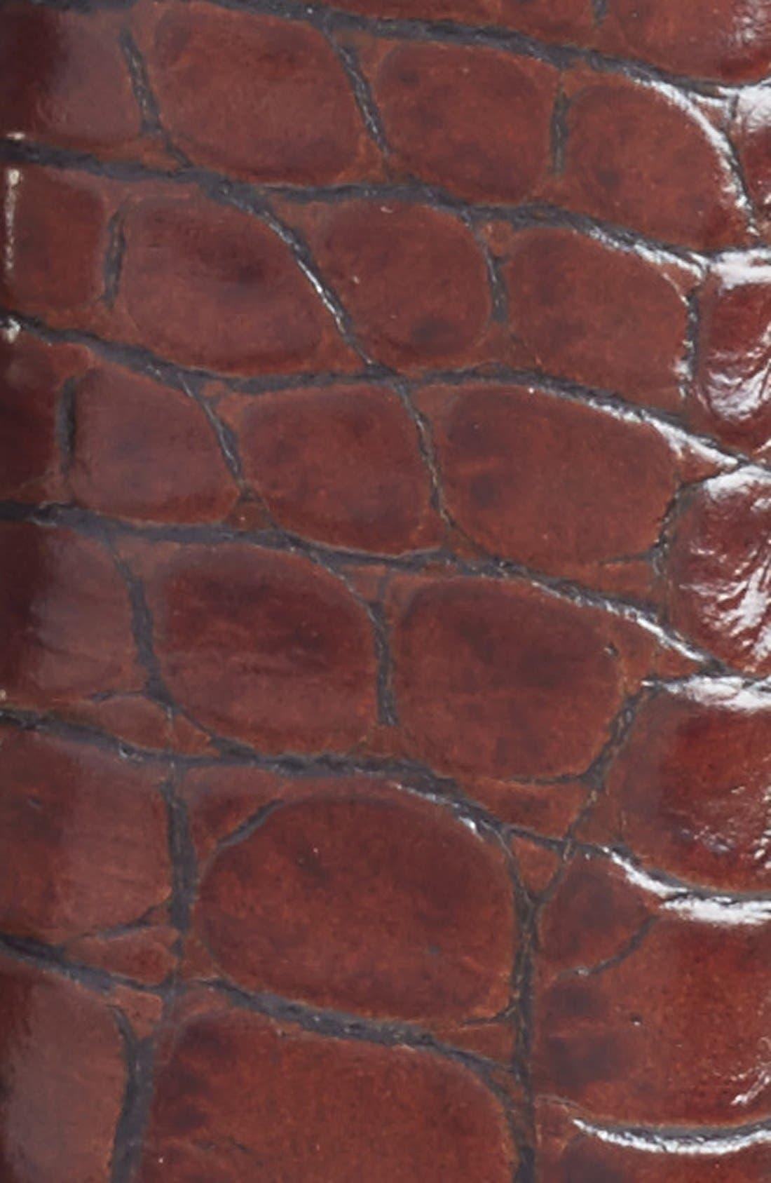 TORINO, Alligator Embossed Leather Belt, Alternate thumbnail 2, color, COGNAC