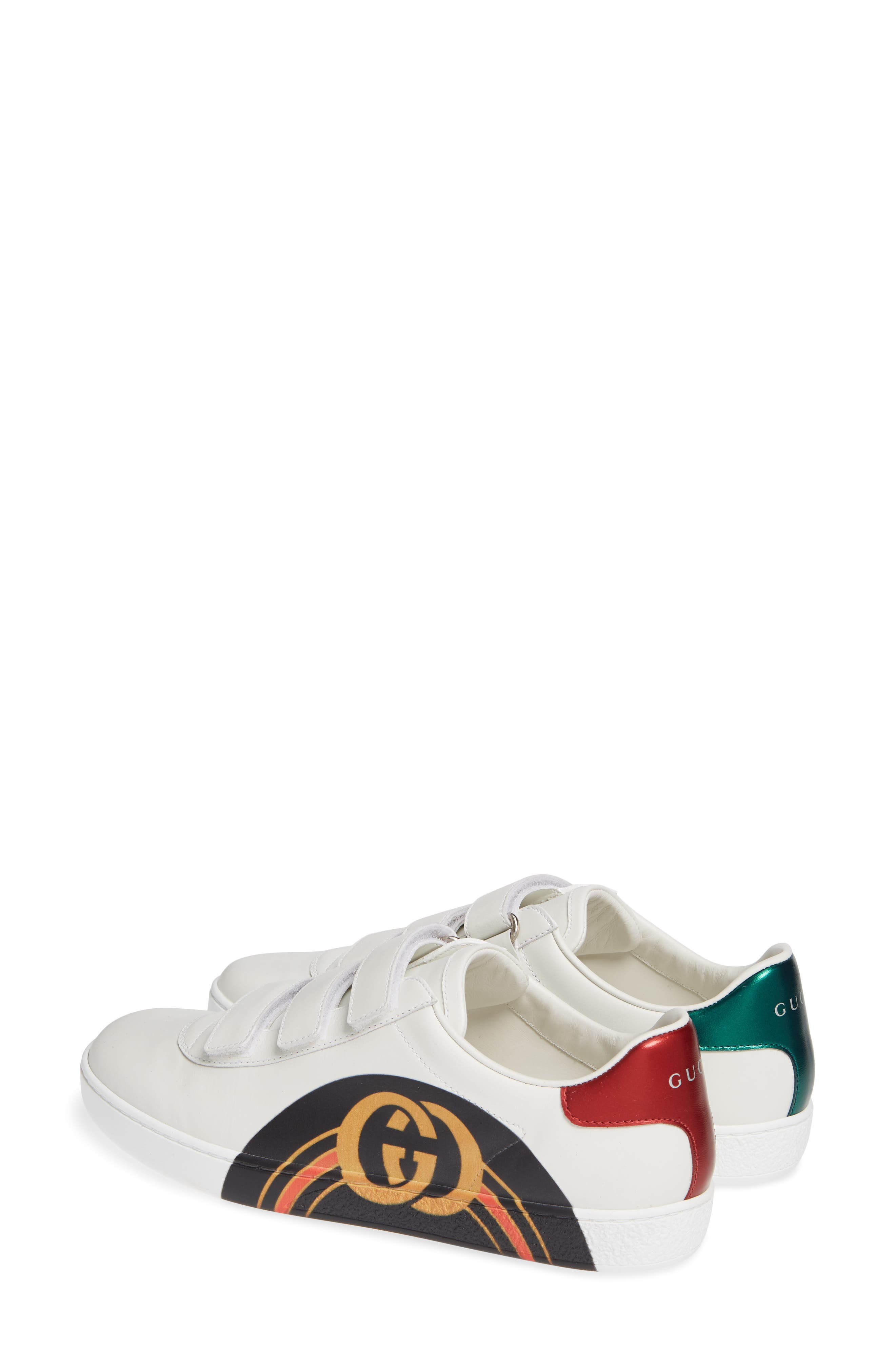 GUCCI, New Ace Sneaker, Alternate thumbnail 2, color, WHITE