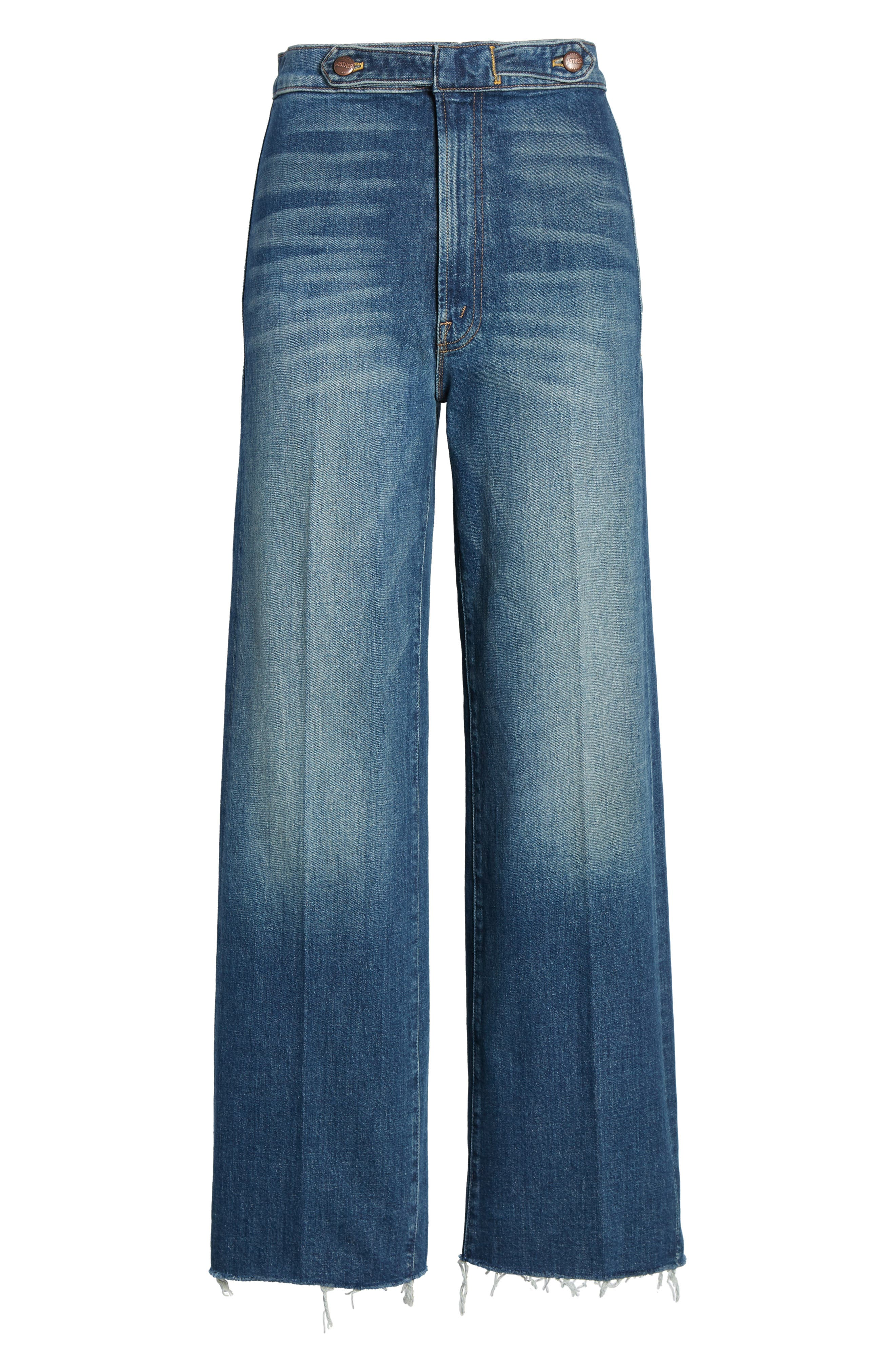 MOTHER, The Loop De Loop Frayed Wide Leg Jeans, Alternate thumbnail 5, color, JUST ONE SIP