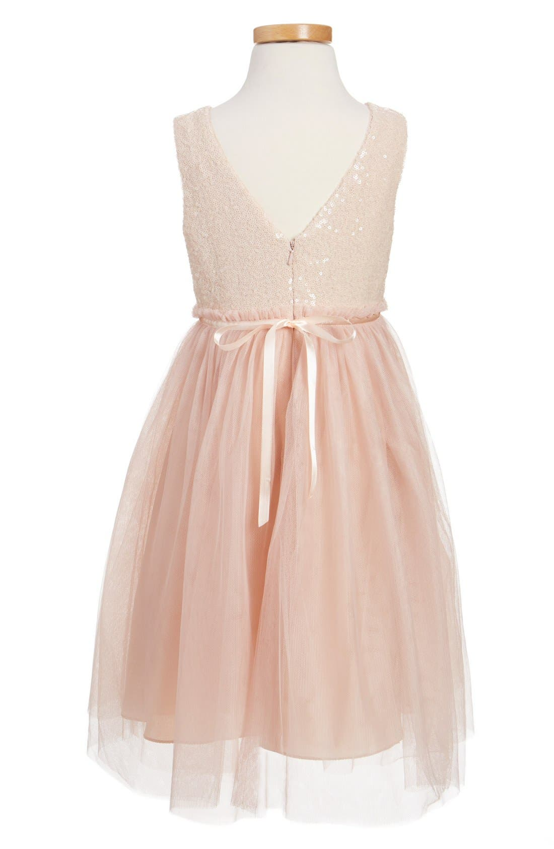 JENNY YOO, Collection Rosalie Sequin & Tulle Dress, Alternate thumbnail 4, color, BLUSH