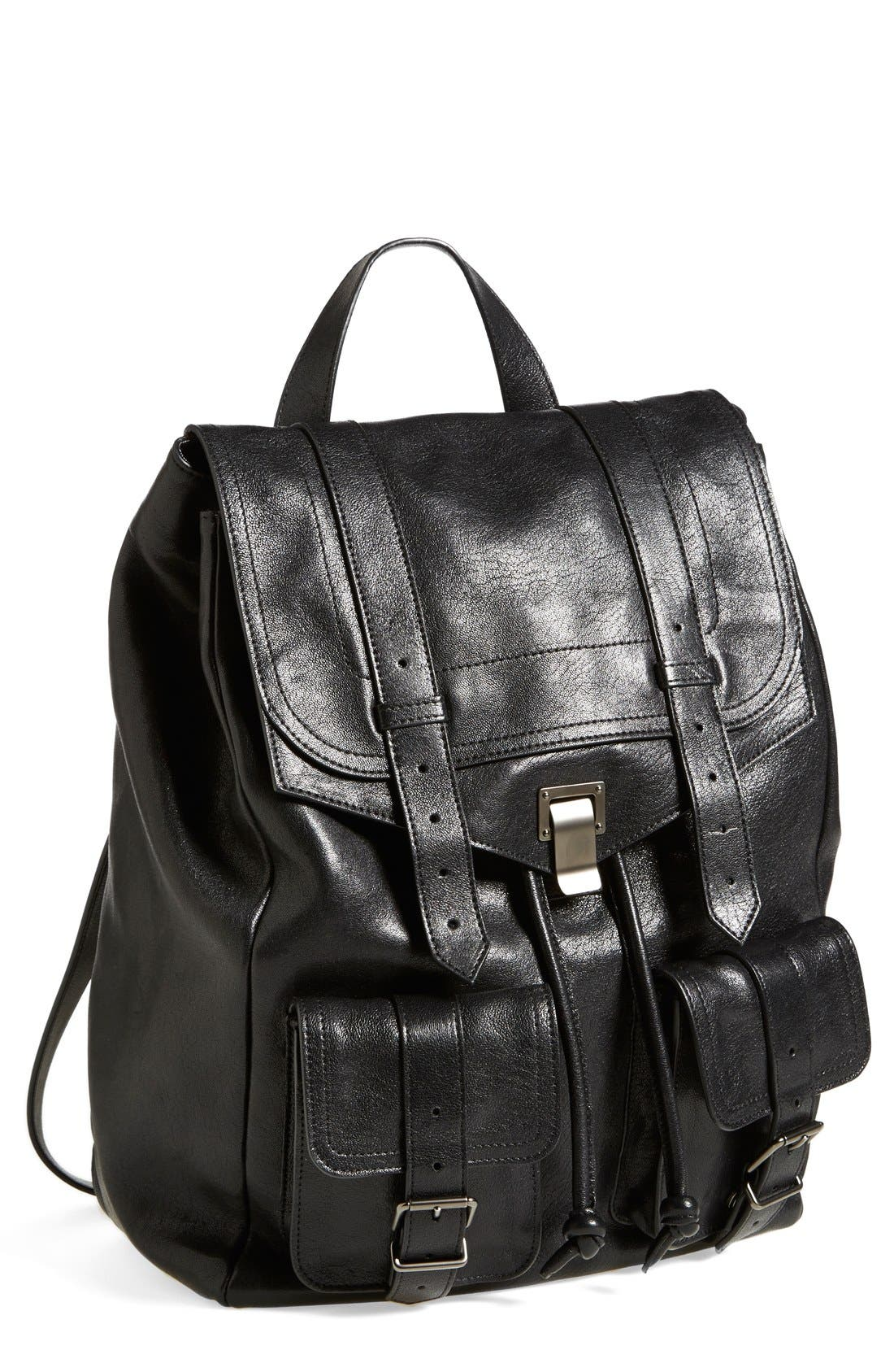 PROENZA SCHOULER, 'PS1' Leather Backpack, Main thumbnail 1, color, 001