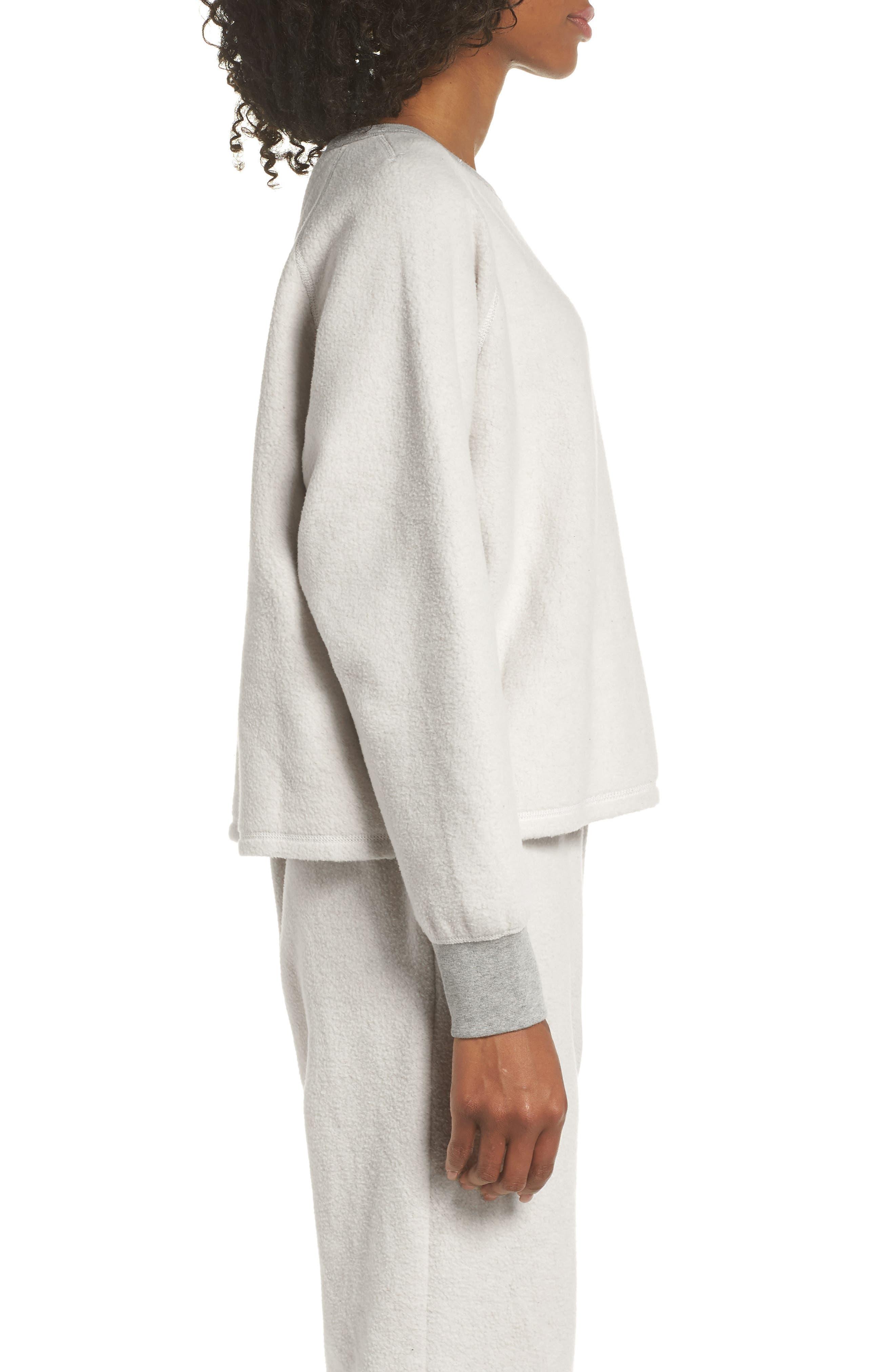 MADEWELL, Fleece Pajama Sweatshirt, Alternate thumbnail 3, color, 020